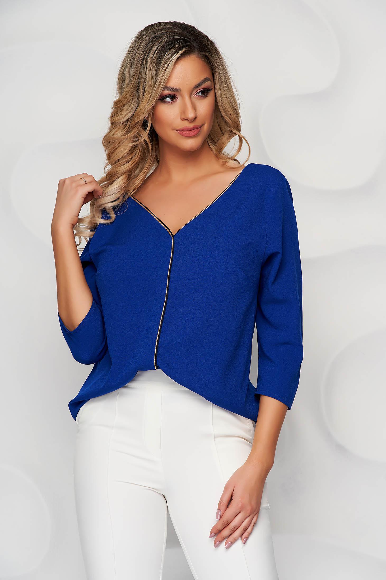 Blue women`s blouse v back neckline with glitter details loose fit