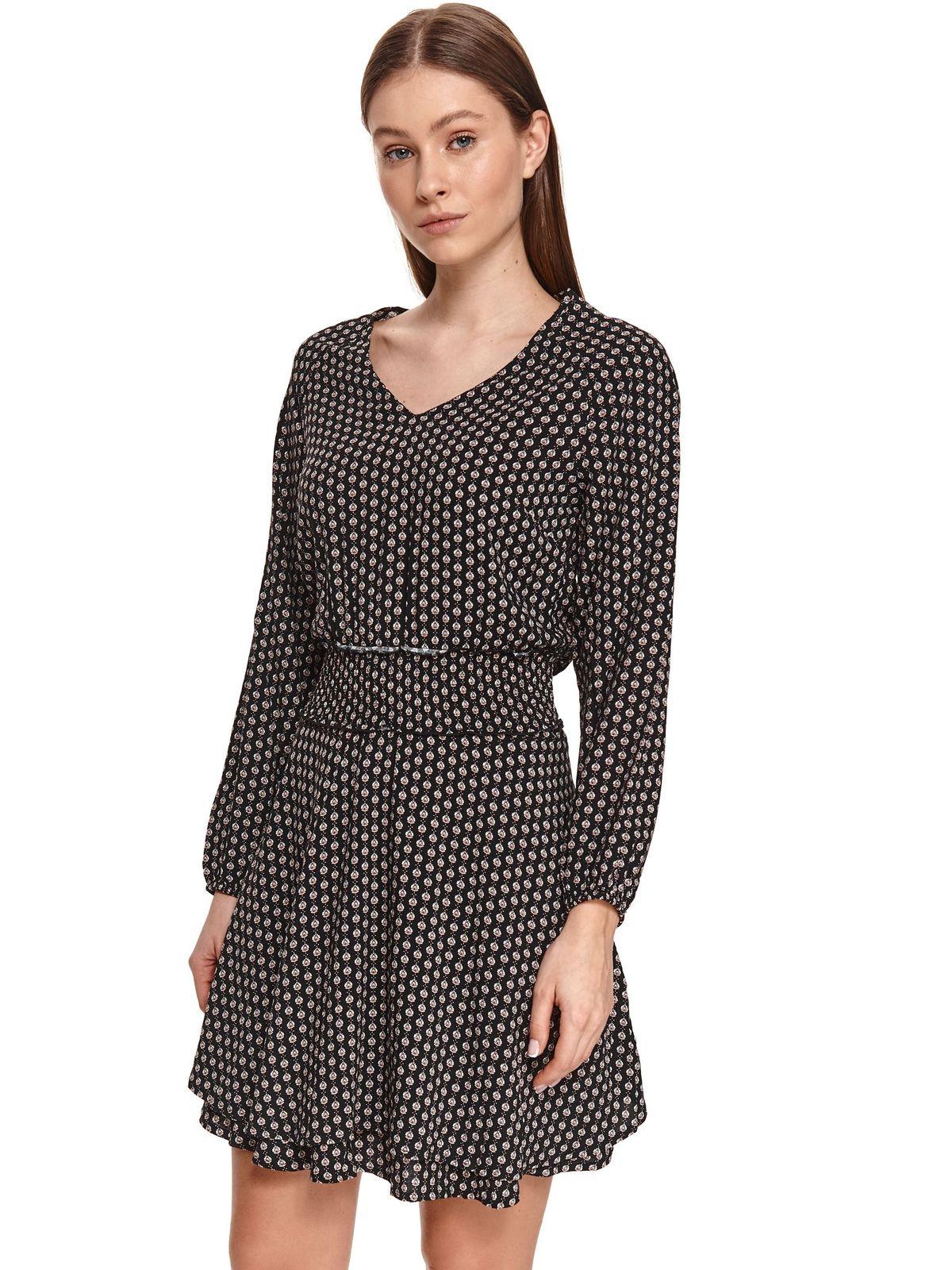 Black dress short cut long sleeved with v-neckline