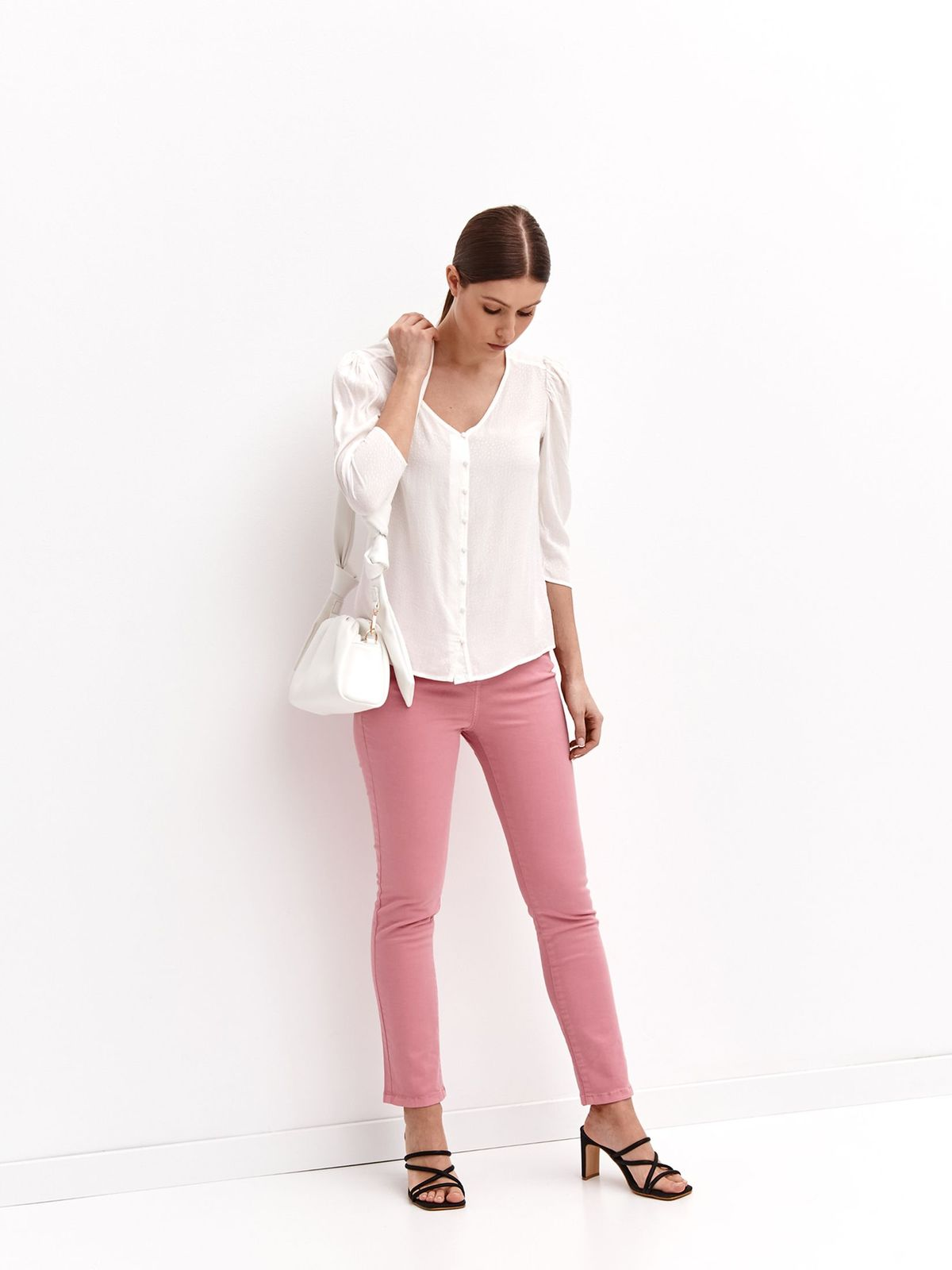 Ivory women`s shirt loose fit plumeti with v-neckline