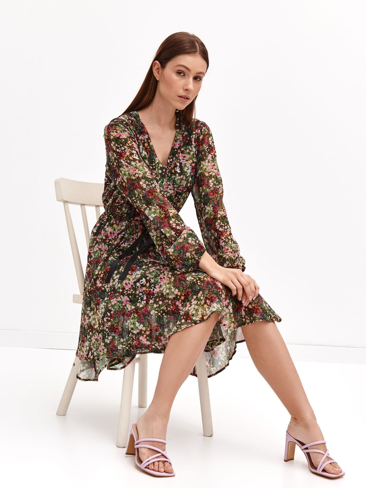 Dress midi asymmetrical cloche from veil fabric with floral print
