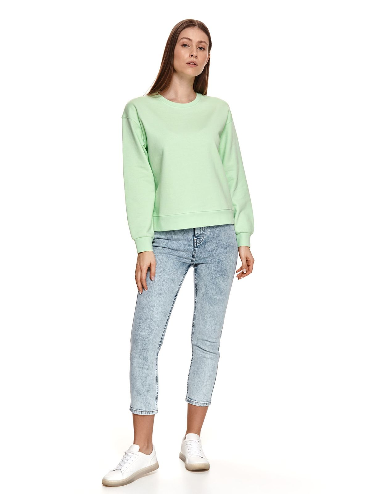 Green women`s blouse loose fit with rounded cleavage