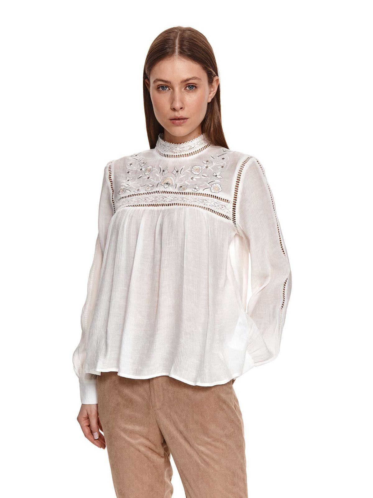 Bluza dama Top Secret ivoire cu croi larg din material subtire cu maneci lungi