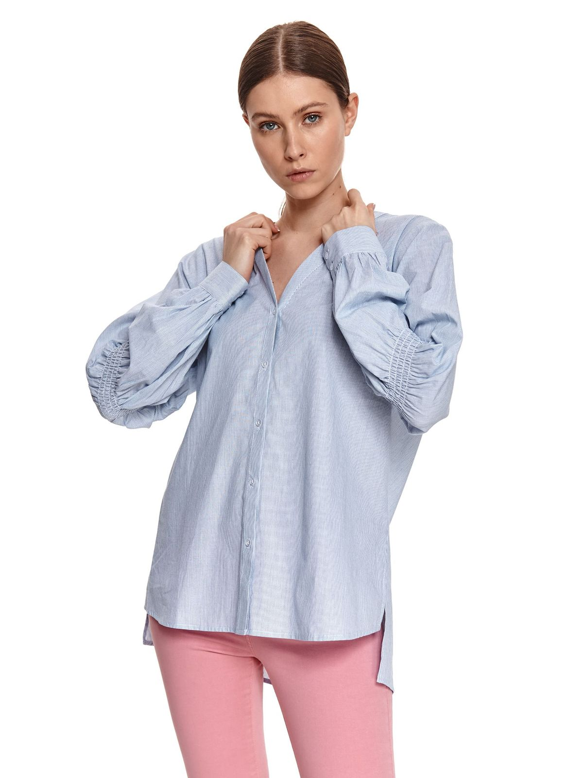 Lightblue women`s shirt loose fit with v-neckline tied with bow