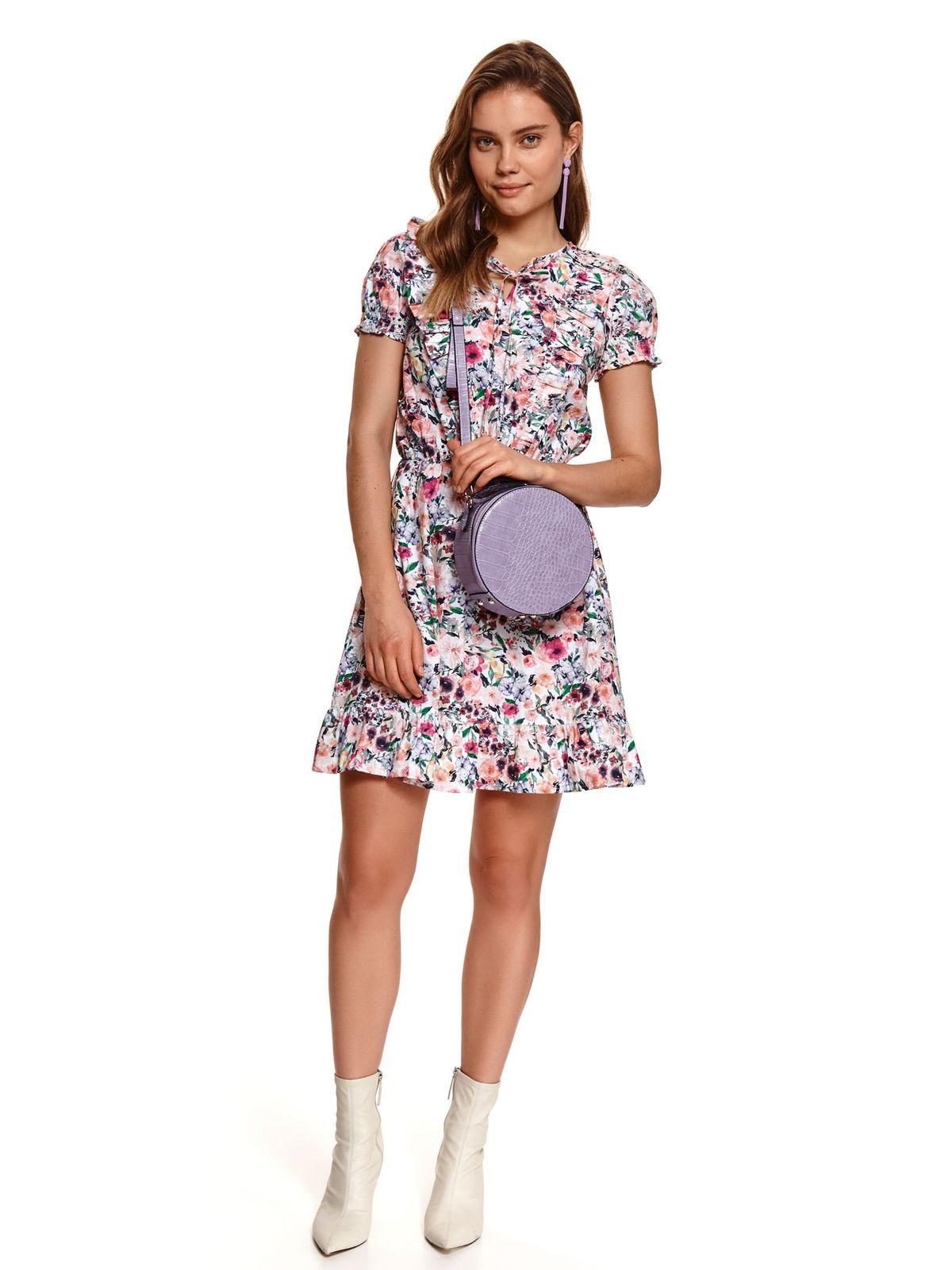 Lightgrey dress short cut cloche with elastic waist short sleeves