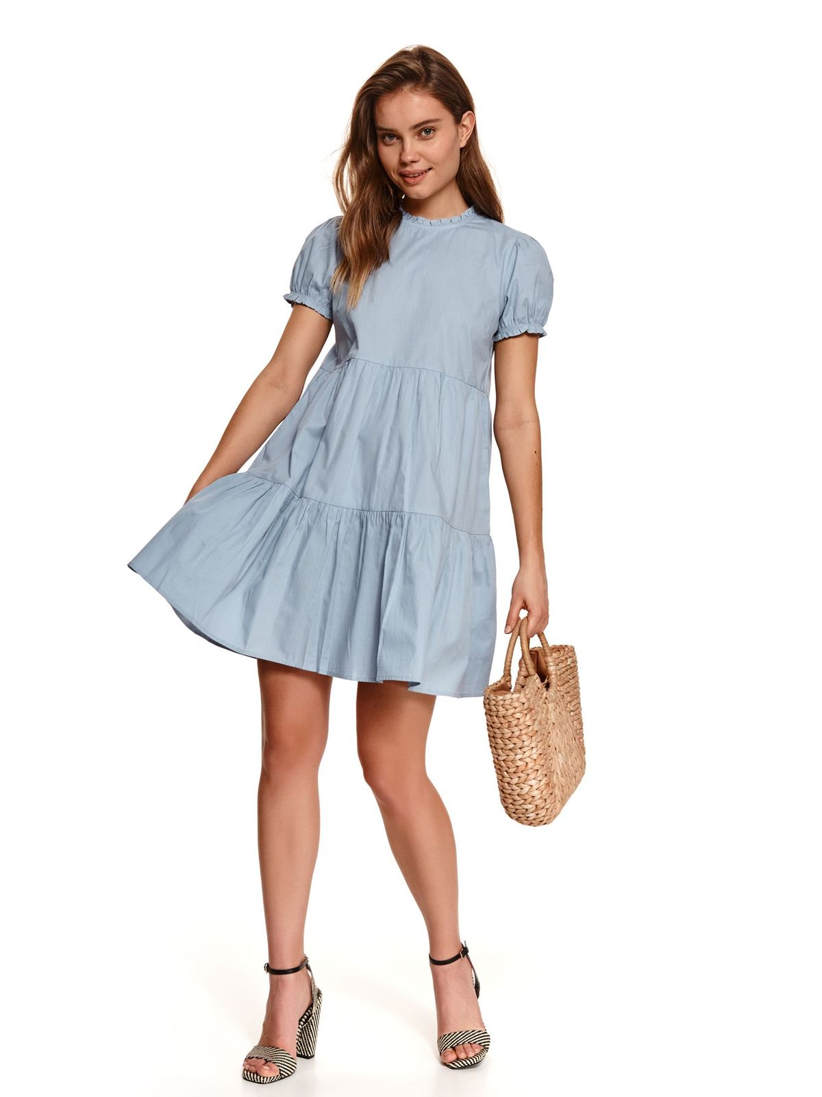 Lightblue dress short cut loose fit with turtle neck short sleeves