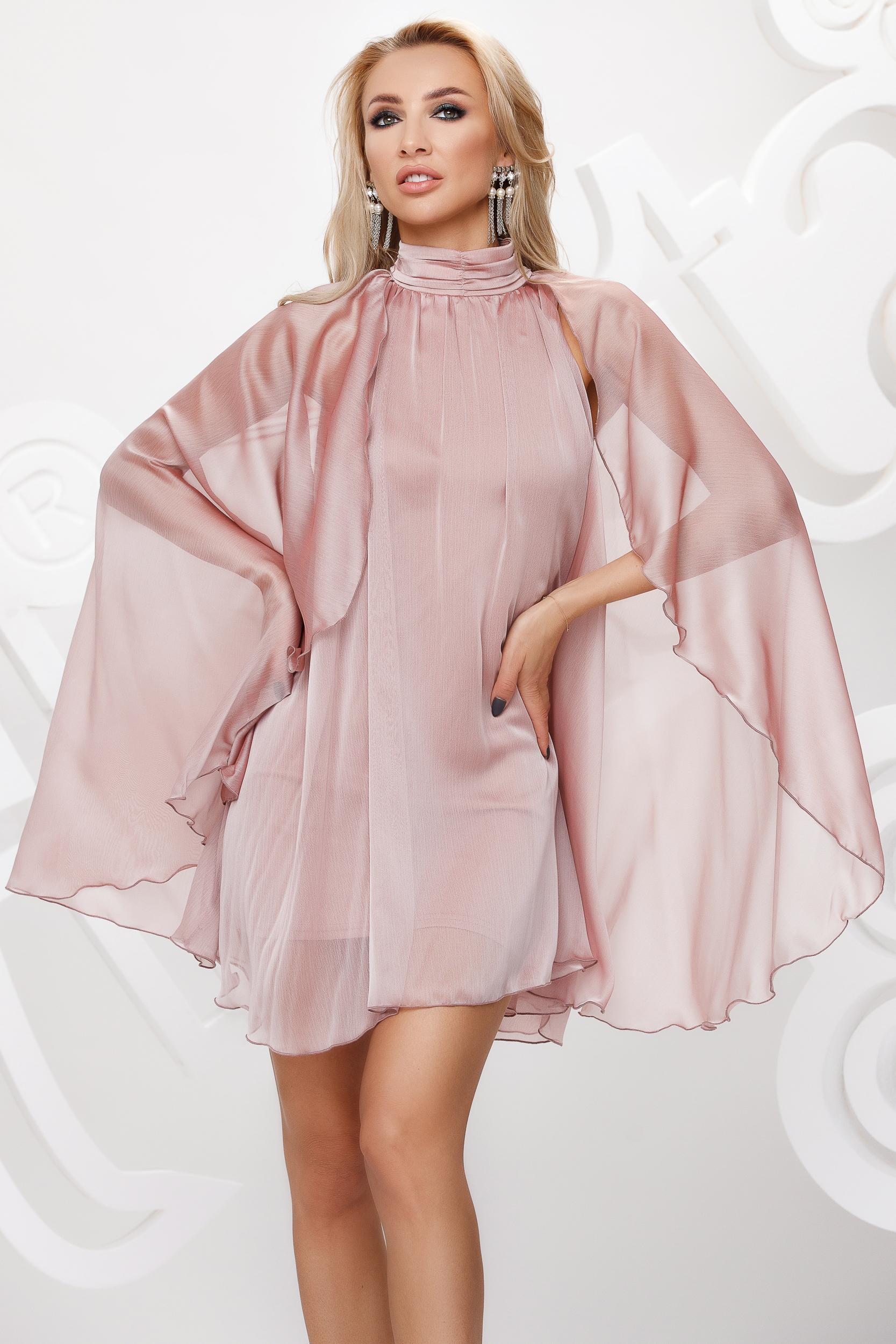 Rochie Artista roz deschis scurta de ocazie din voal pe gat