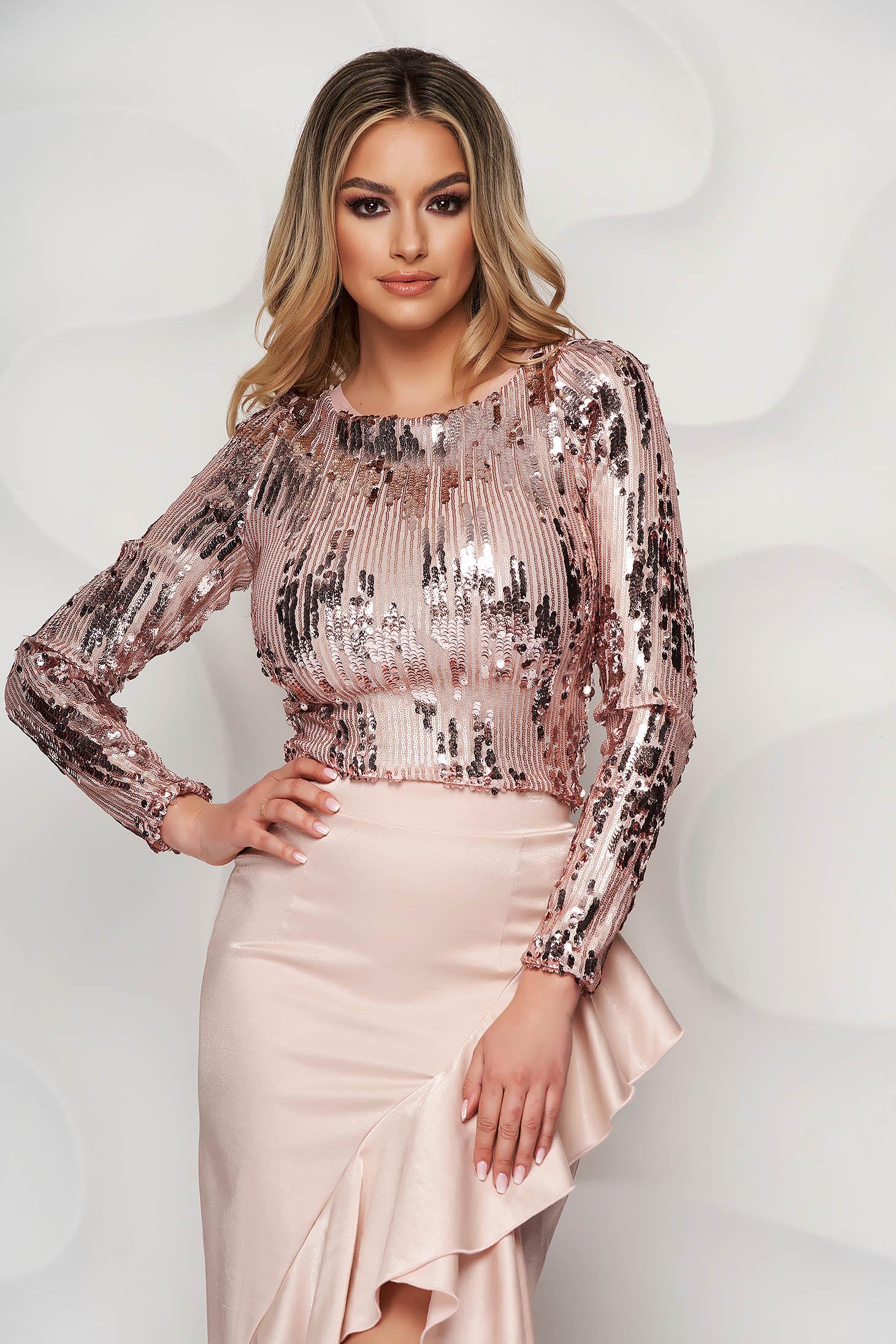 Top StarShinerS roz elegant mulat din paiete cu decolteu rotunjit