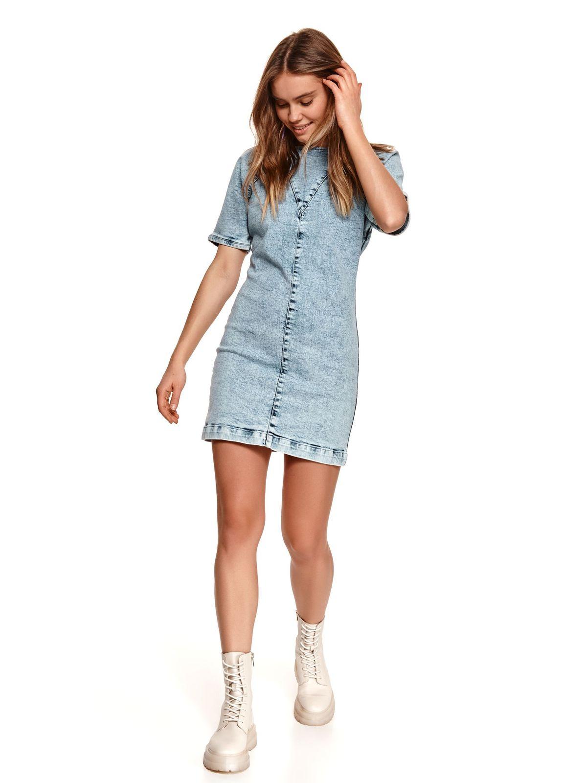 Lightblue dress short cut pencil top wrinkled sleeves