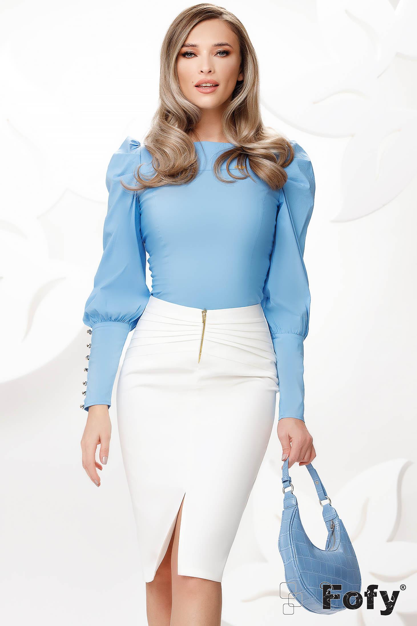 Kék irodai szűk szabású rövid női ing pamutból készült