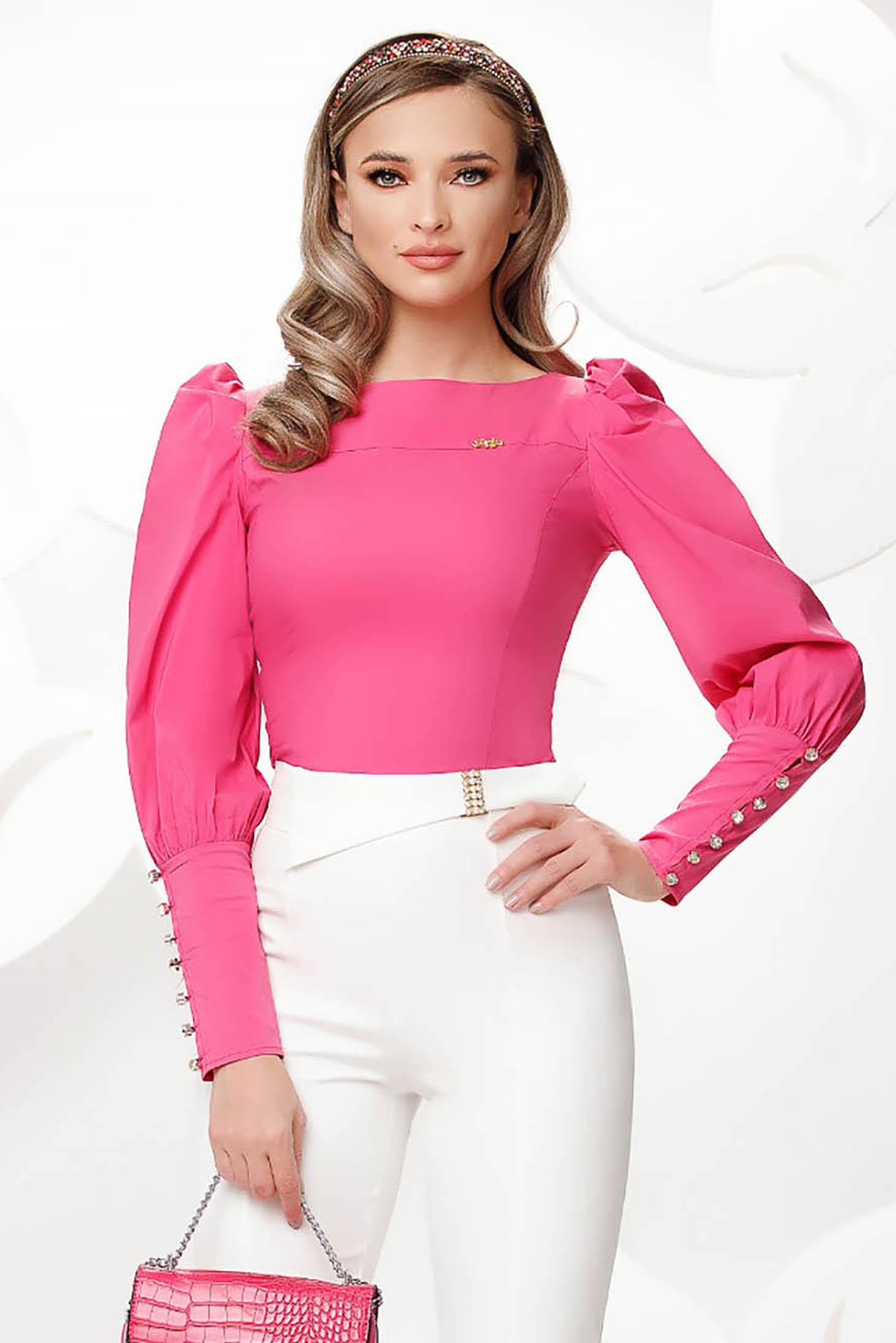 Pink irodai szűk szabású rövid női ing pamutból készült