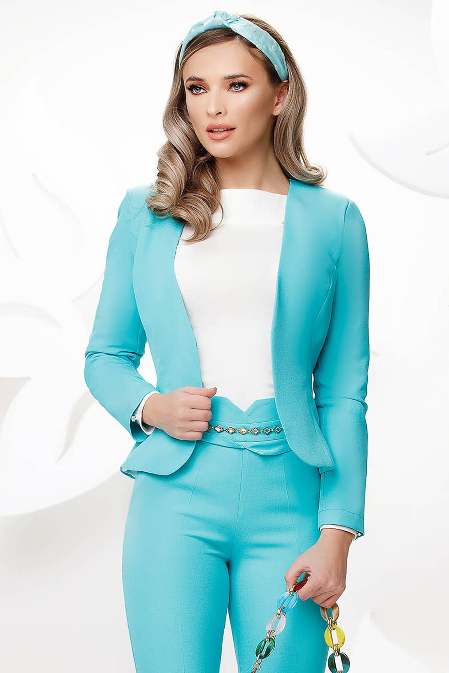 Turquoise office tented jacket slightly elastic fabric with padded shoulders