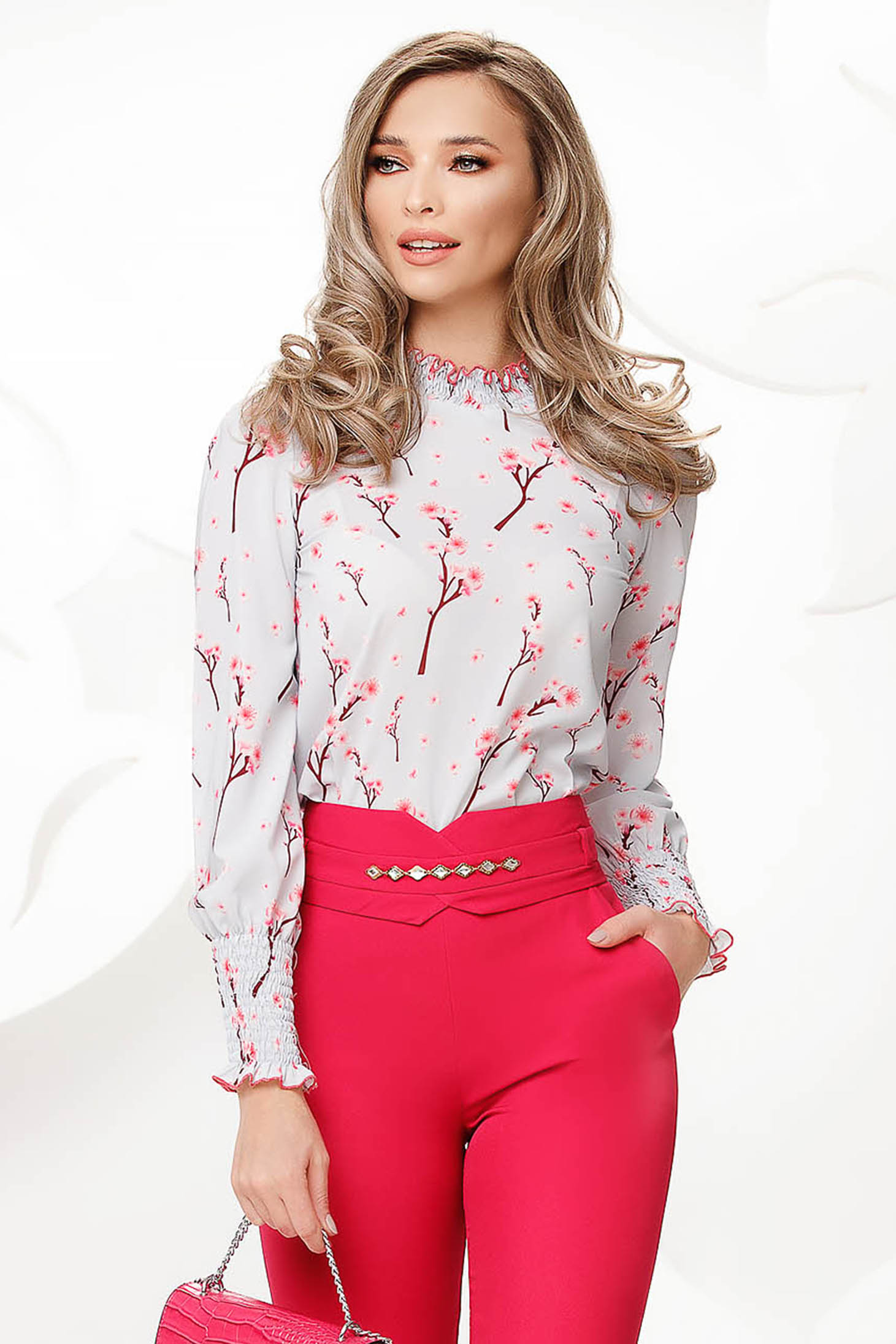 Grey women`s blouse with floral print from veil fabric nonelastic fabric