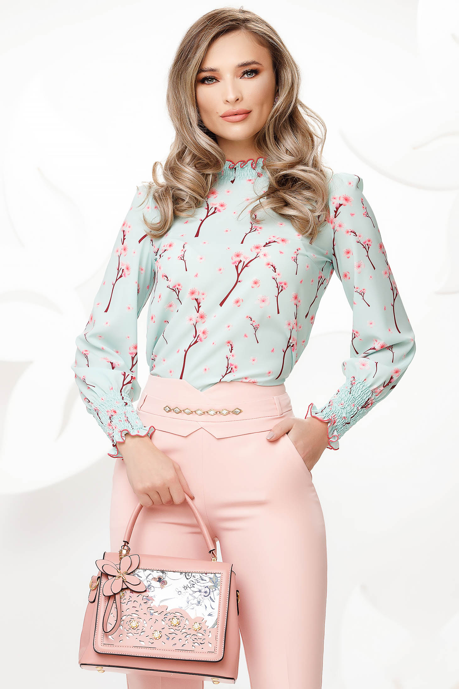 Lightgreen women`s blouse with floral print from veil fabric nonelastic fabric