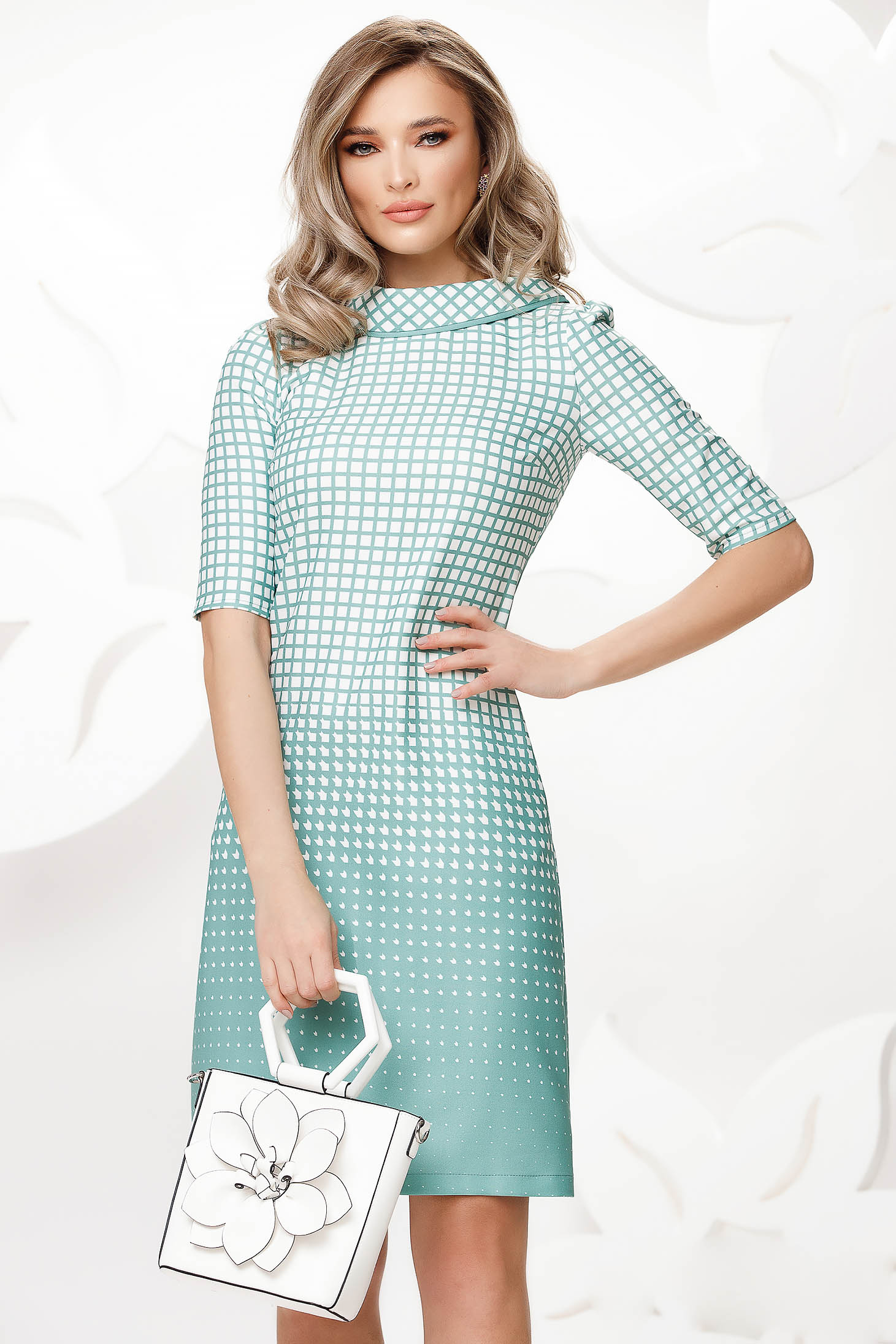 Turquoise dress office slightly elastic fabric double collar with chequers