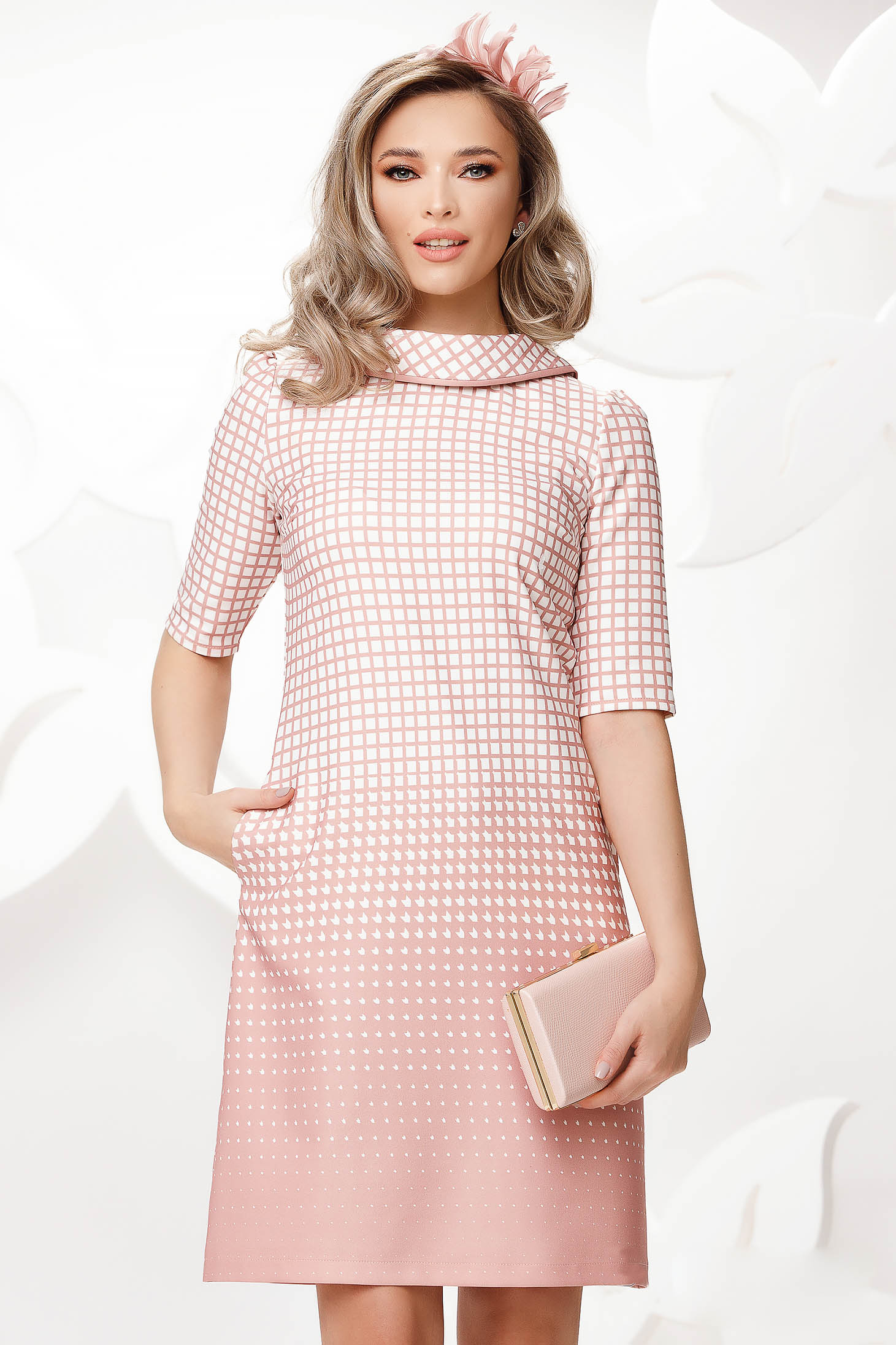 Lightpink dress office slightly elastic fabric double collar with chequers