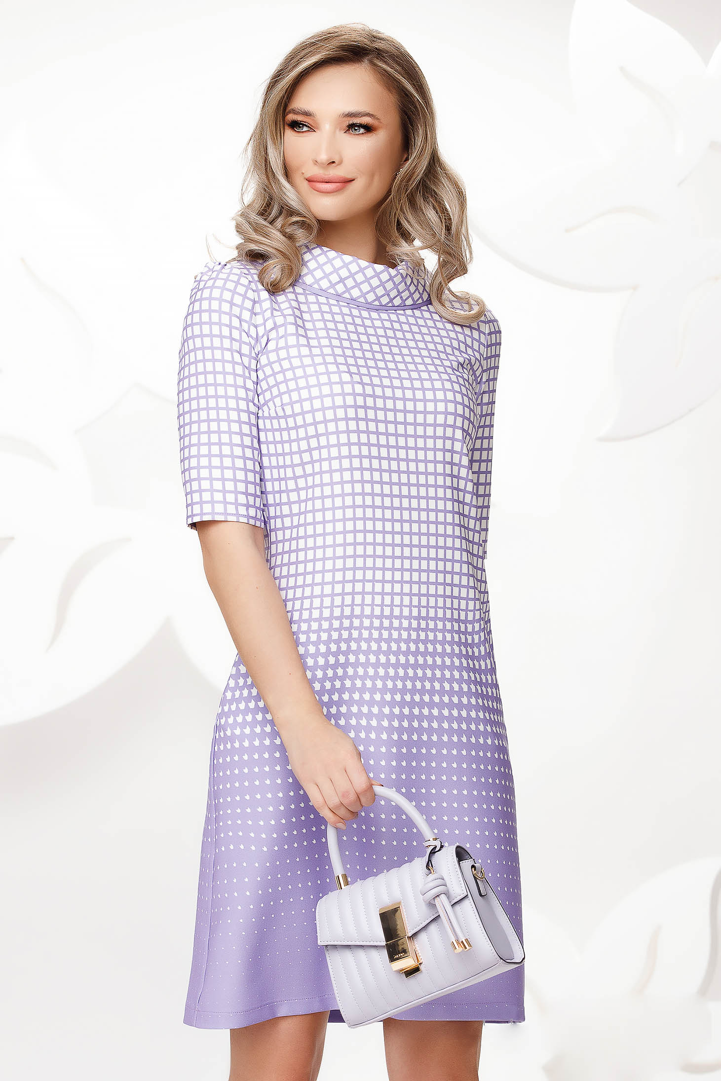 Lila dress office slightly elastic fabric double collar with chequers