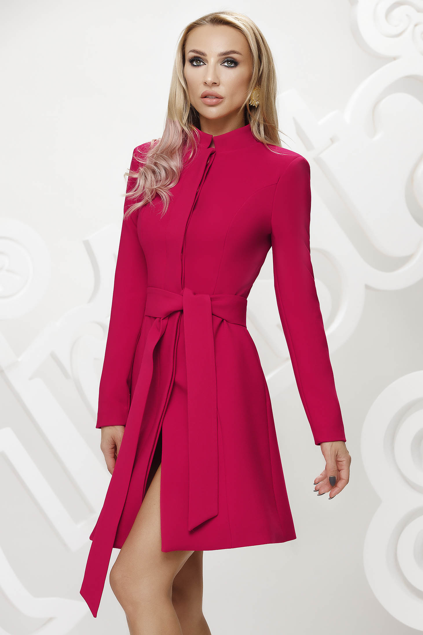 Fuchsia trenchcoat tented short cut elegant accessorized with tied waistband bow accessory