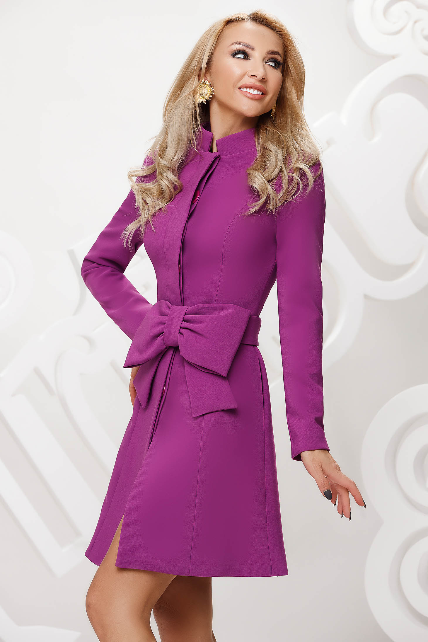Purple trenchcoat tented short cut elegant accessorized with tied waistband bow accessory