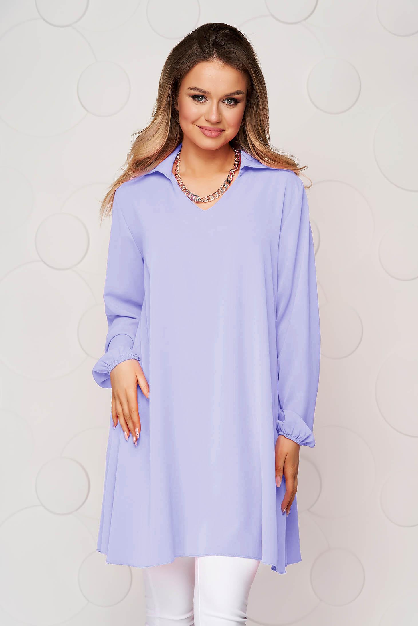 Bluza dama SunShine lila cu croi larg din material vaporos si transparent cu maneca lunga