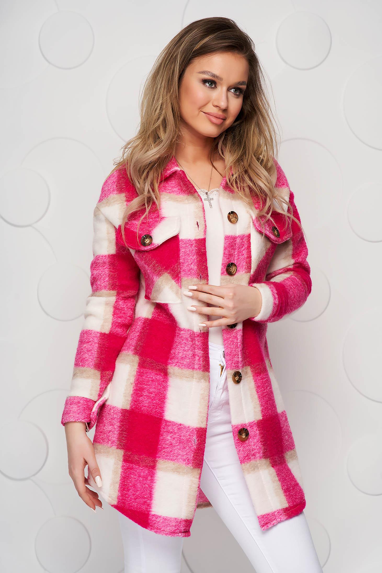 Jacheta tip camasa SunShine fuchsia din lana cu croi larg cu buzunare in fata