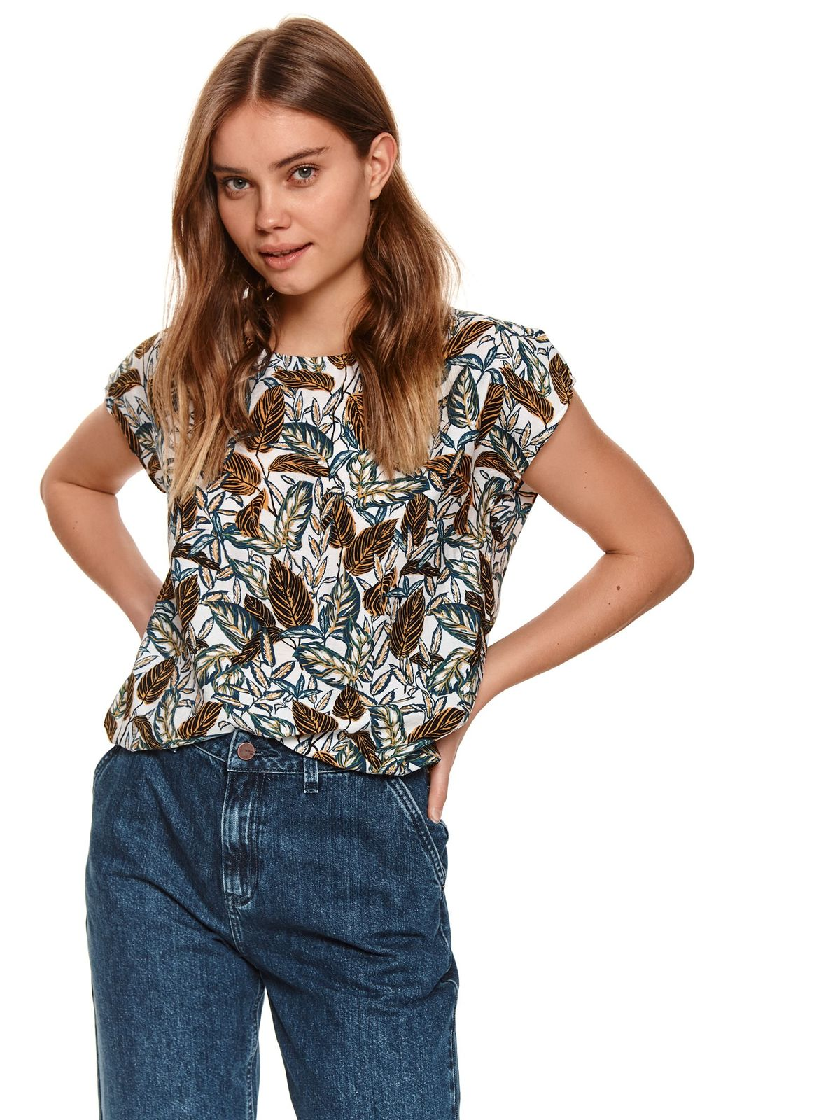 Women`s blouse with floral print loose fit from elastic fabric with rounded cleavage