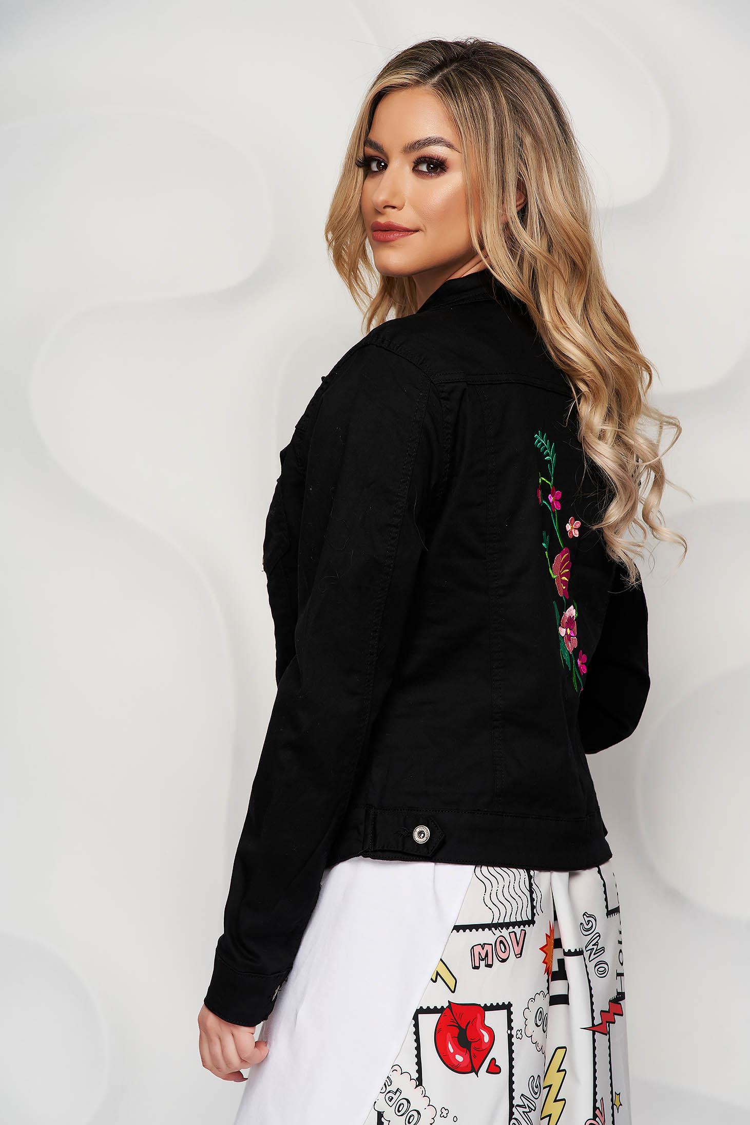 Black jacket denim tented short cut embroidered