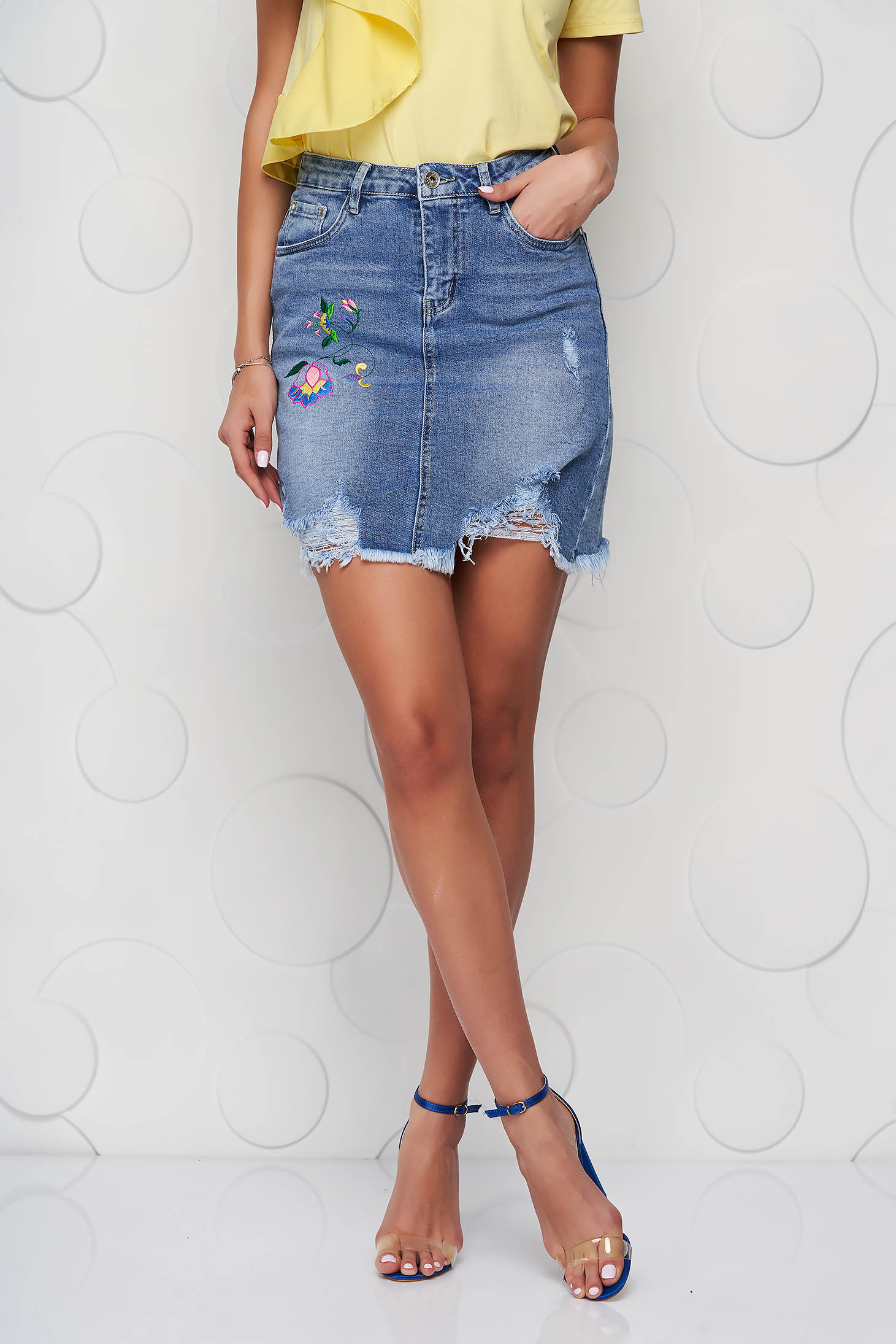 Blue skirt denim high waisted pencil small rupture of material embroidered