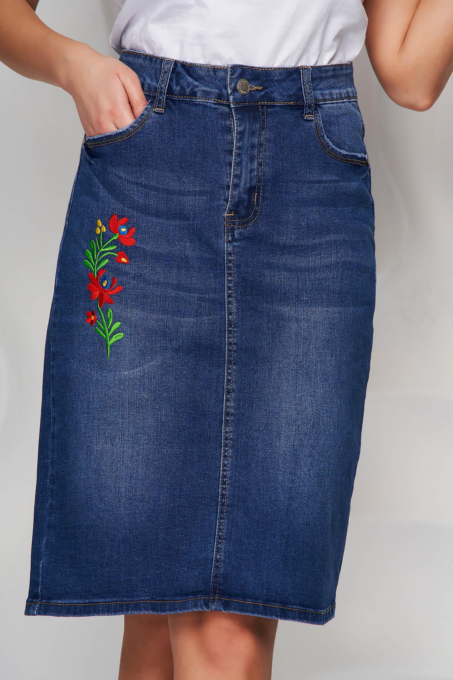 Blue skirt denim high waisted embroidered midi straight