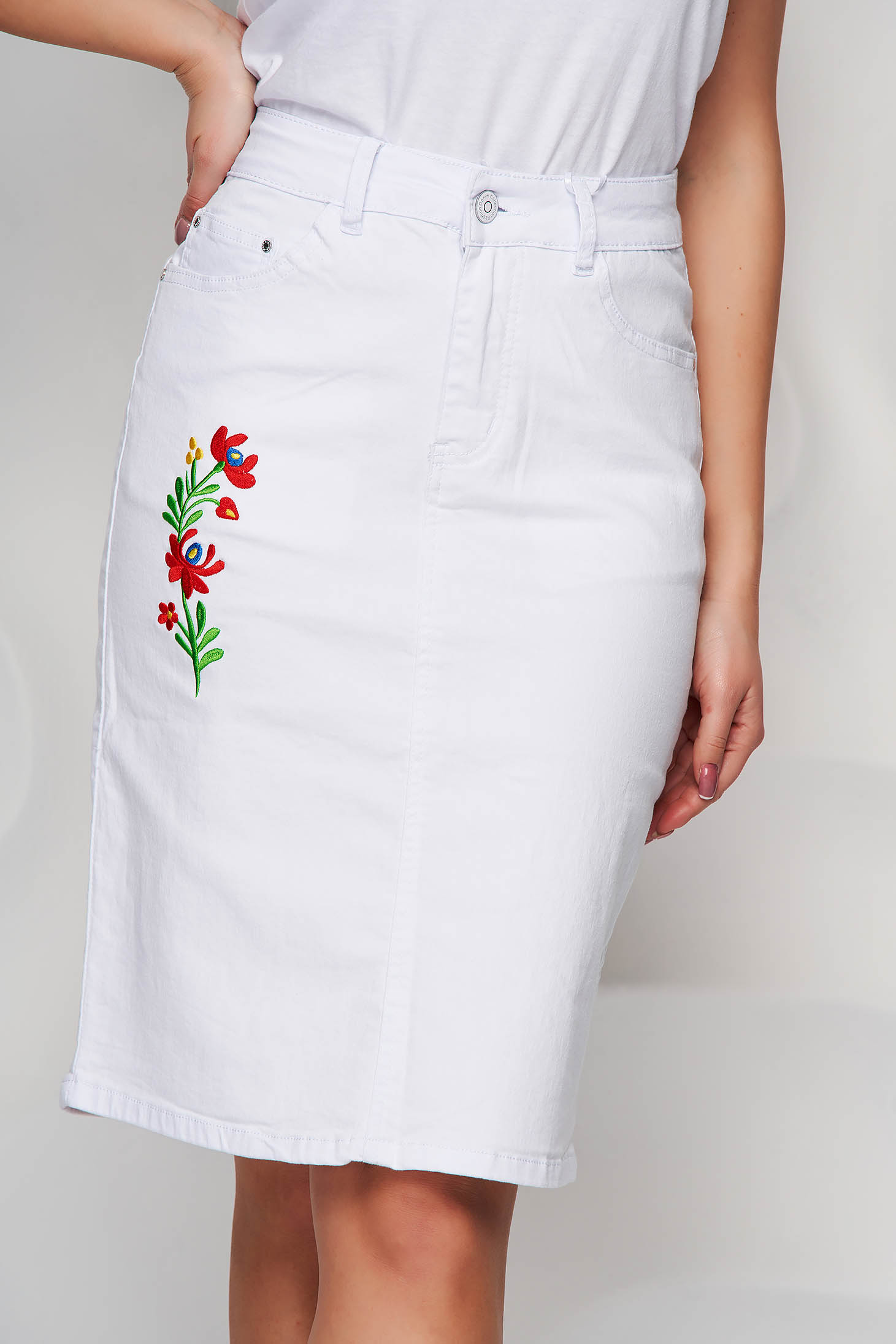 White skirt denim high waisted embroidered midi straight