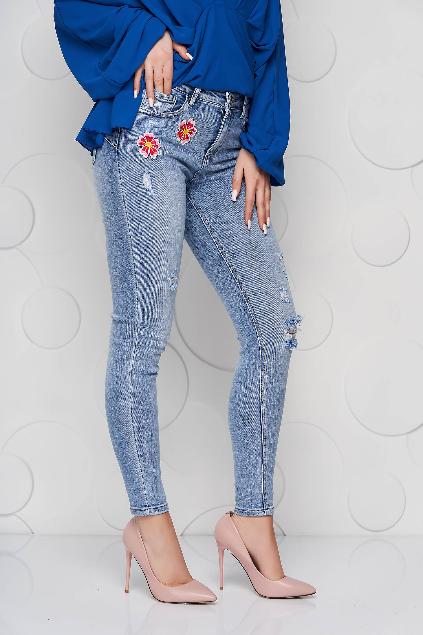 Blue jeans skinny jeans denim high waisted small rupture of material