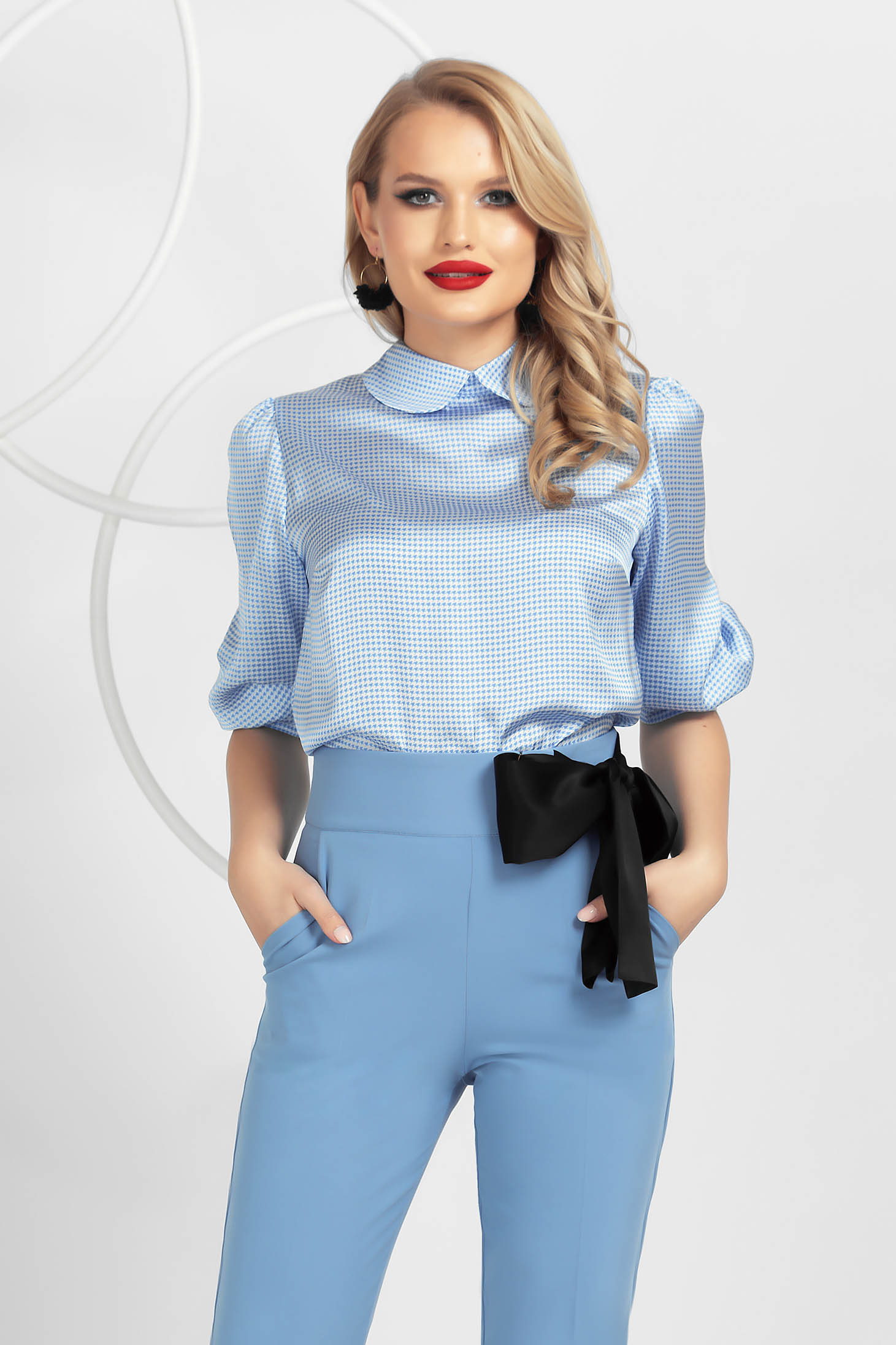 From satin loose fit with puffed sleeves women`s blouse dogtooth lightblue