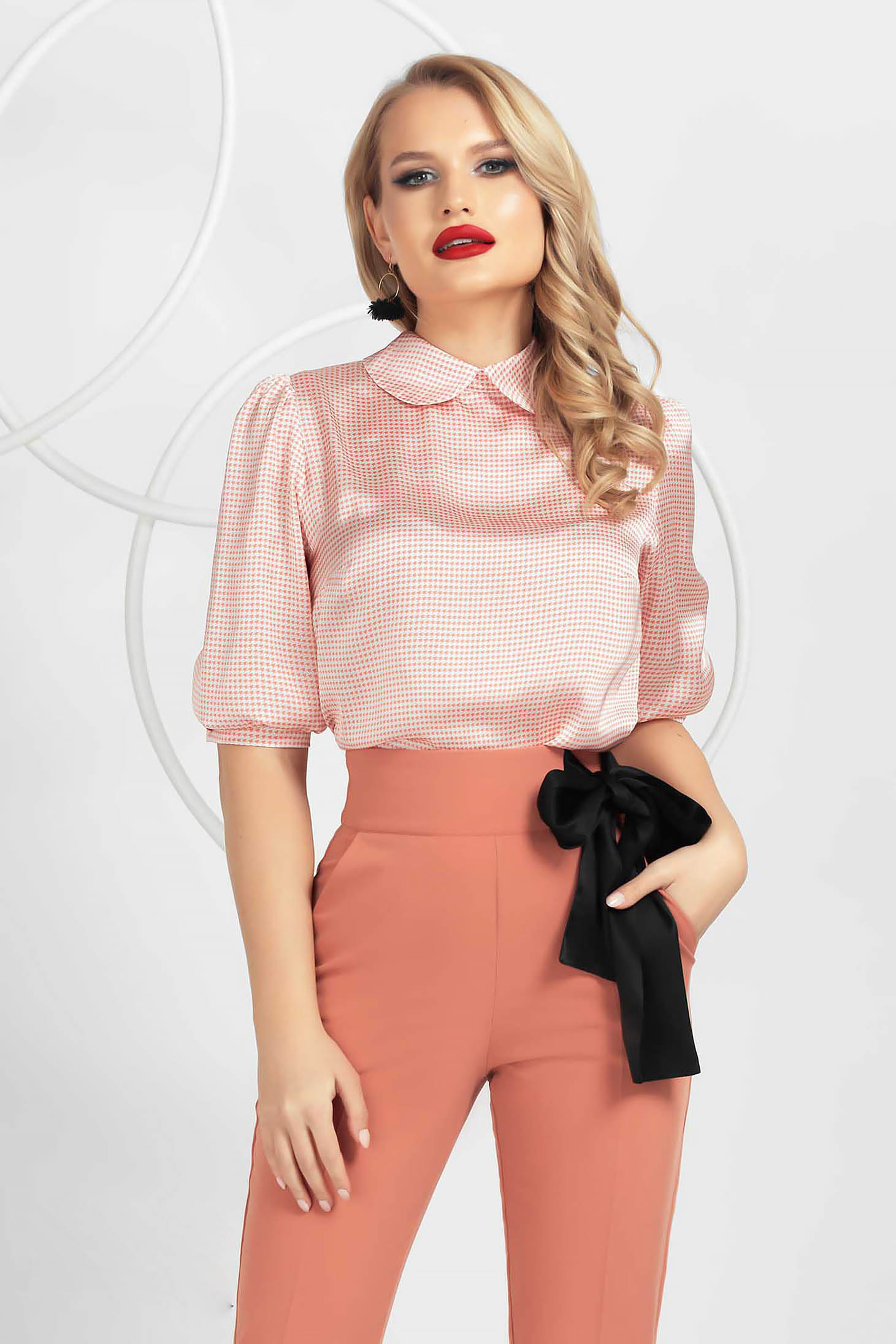 From satin loose fit with puffed sleeves women`s blouse dogtooth peach