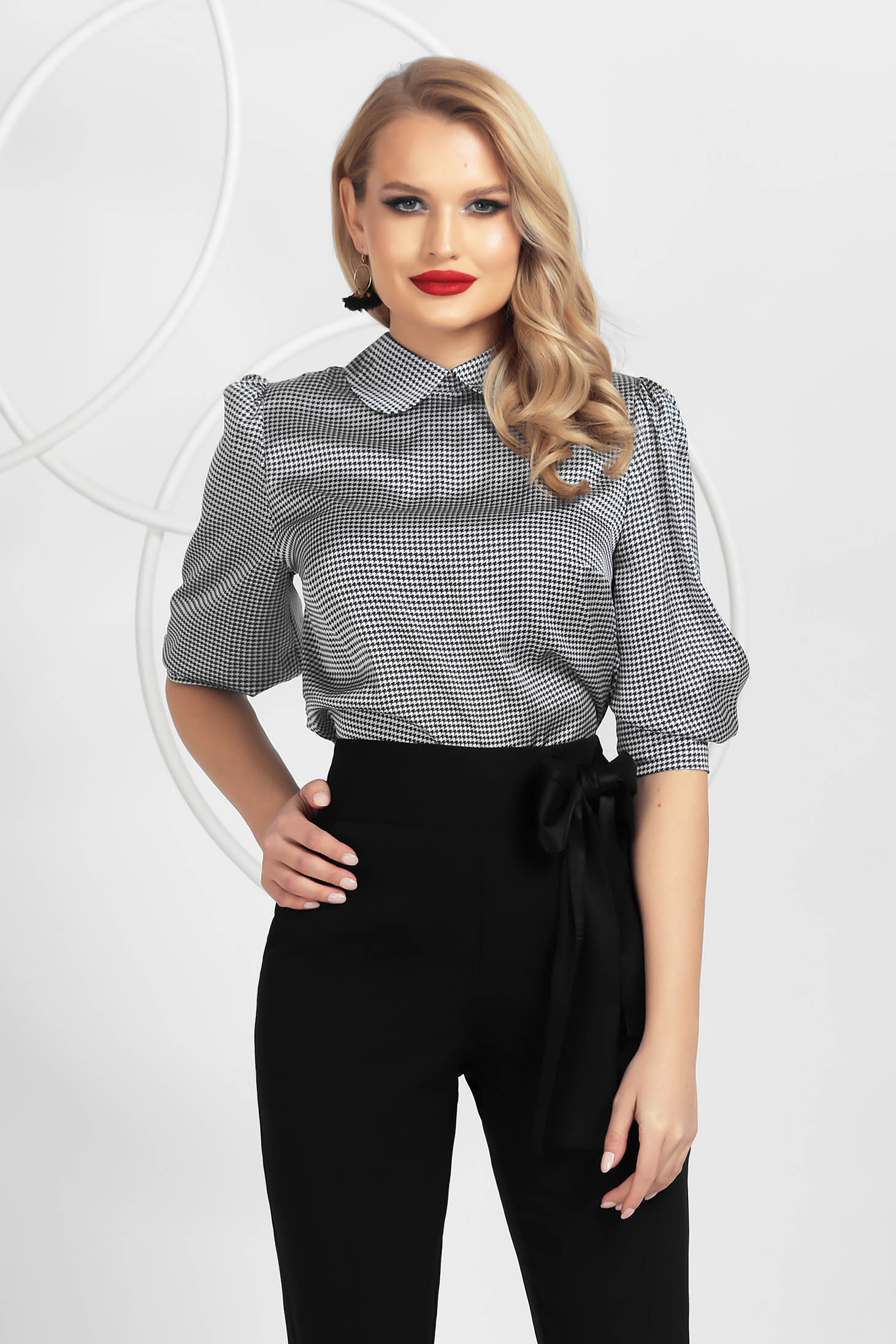 From satin loose fit with puffed sleeves women`s blouse dogtooth black