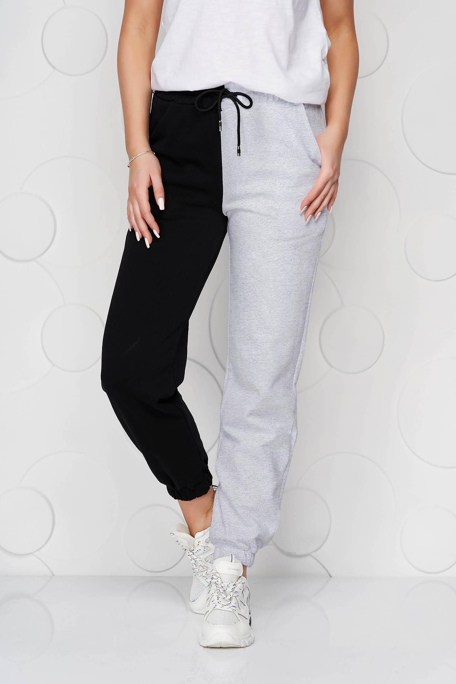 Pantaloni SunShine gri din bumbac cu talie inalta cu elastic in talie