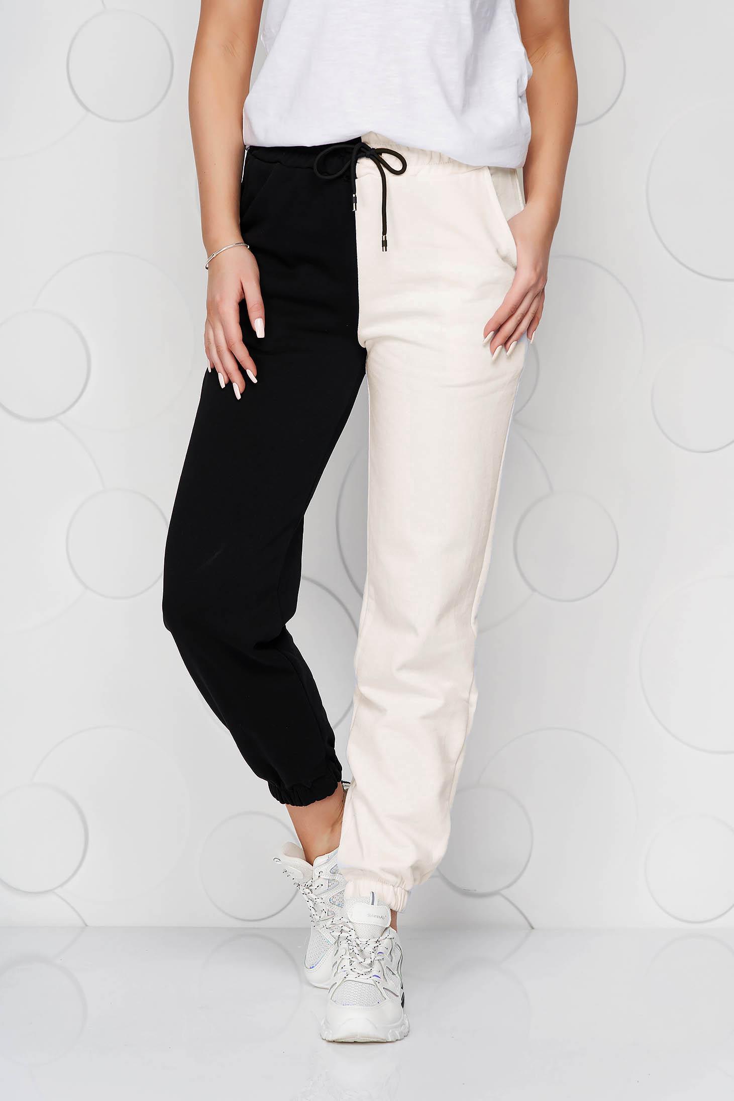 Pantaloni SunShine crem din bumbac cu talie inalta cu elastic in talie