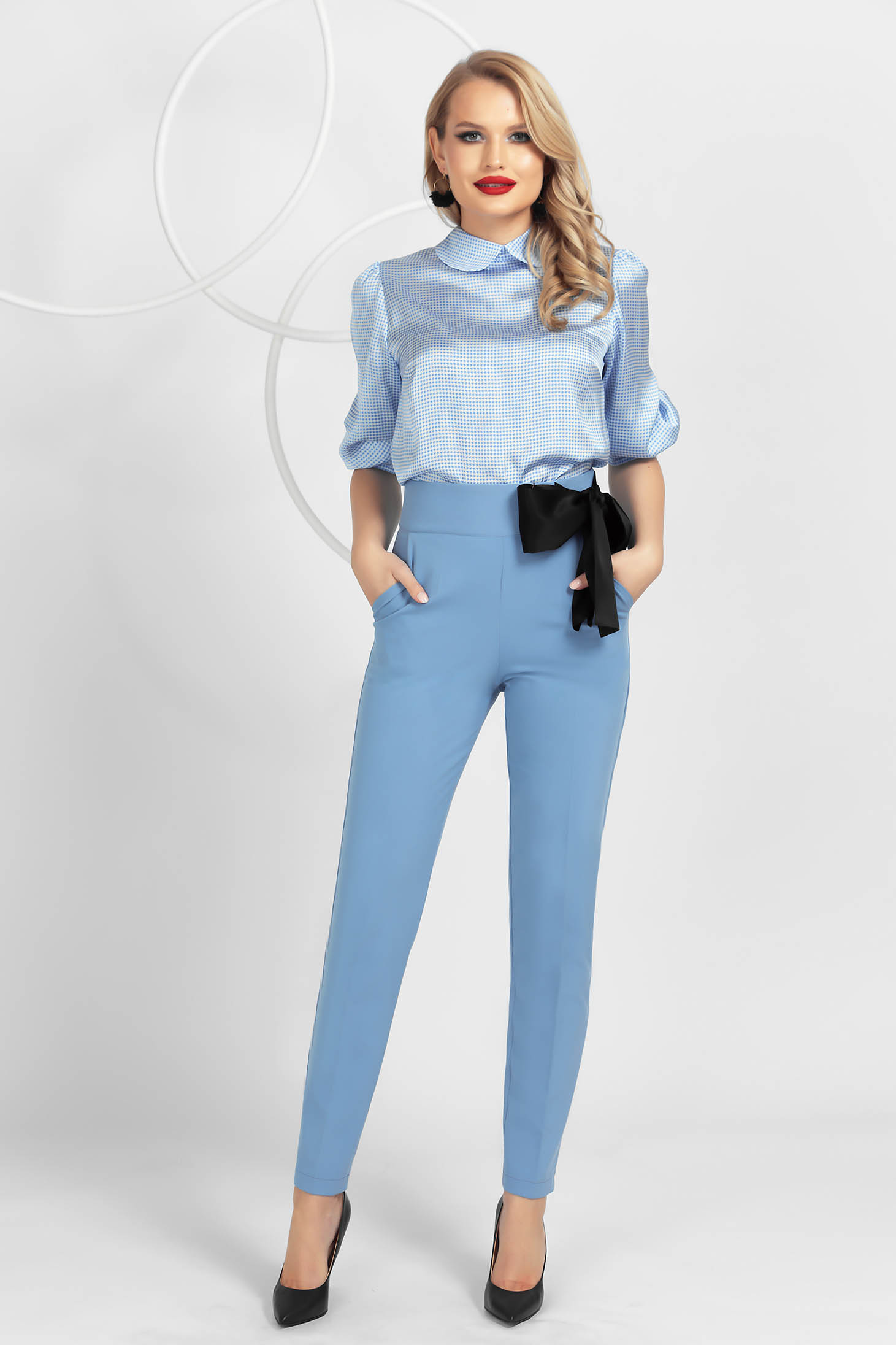 Lightblue trousers conical high waisted slightly elastic fabric satin ribbon fastening