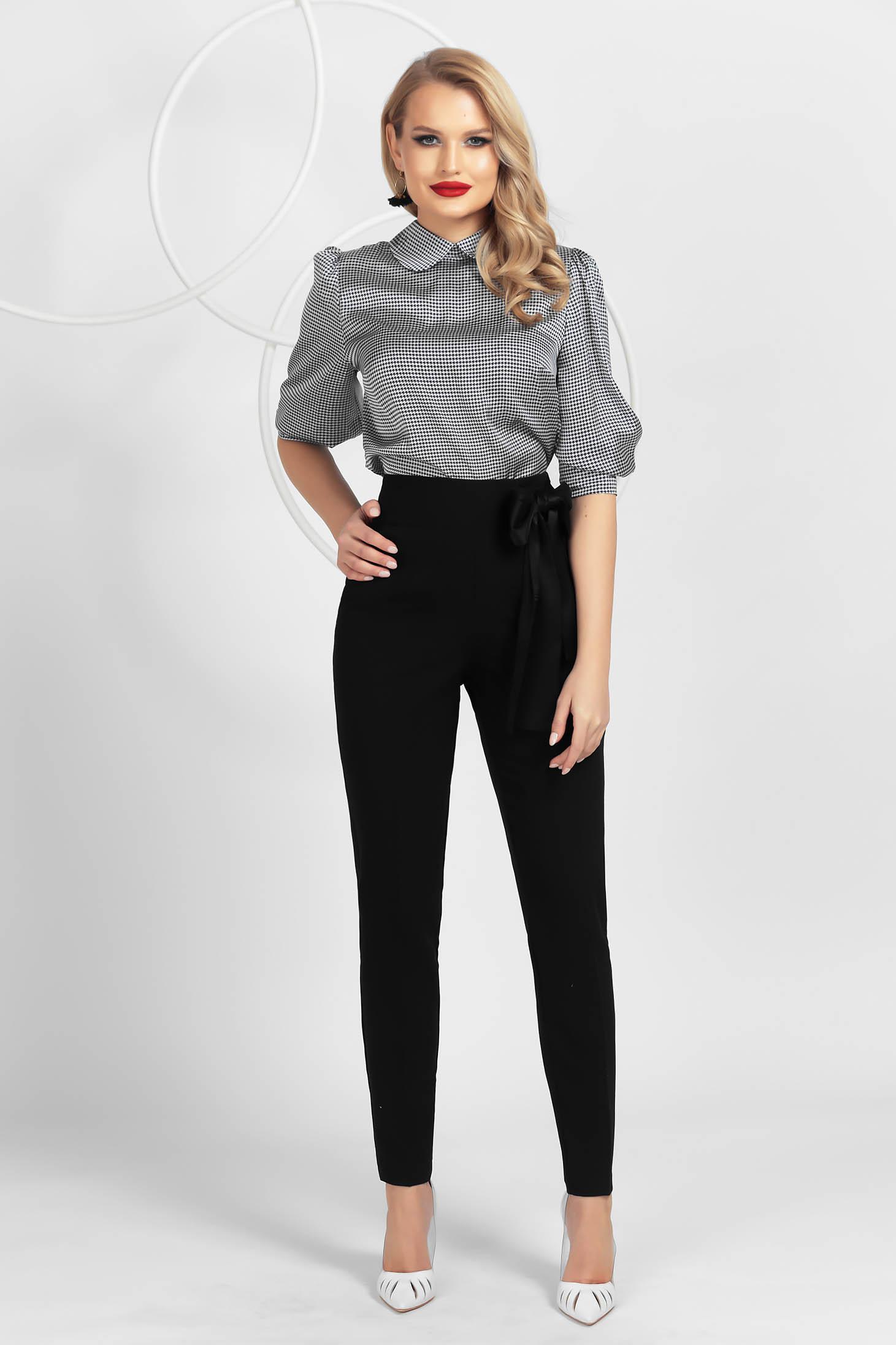 Pantaloni PrettyGirl negri conici din material usor elastic cu talie inalta si funda satinata