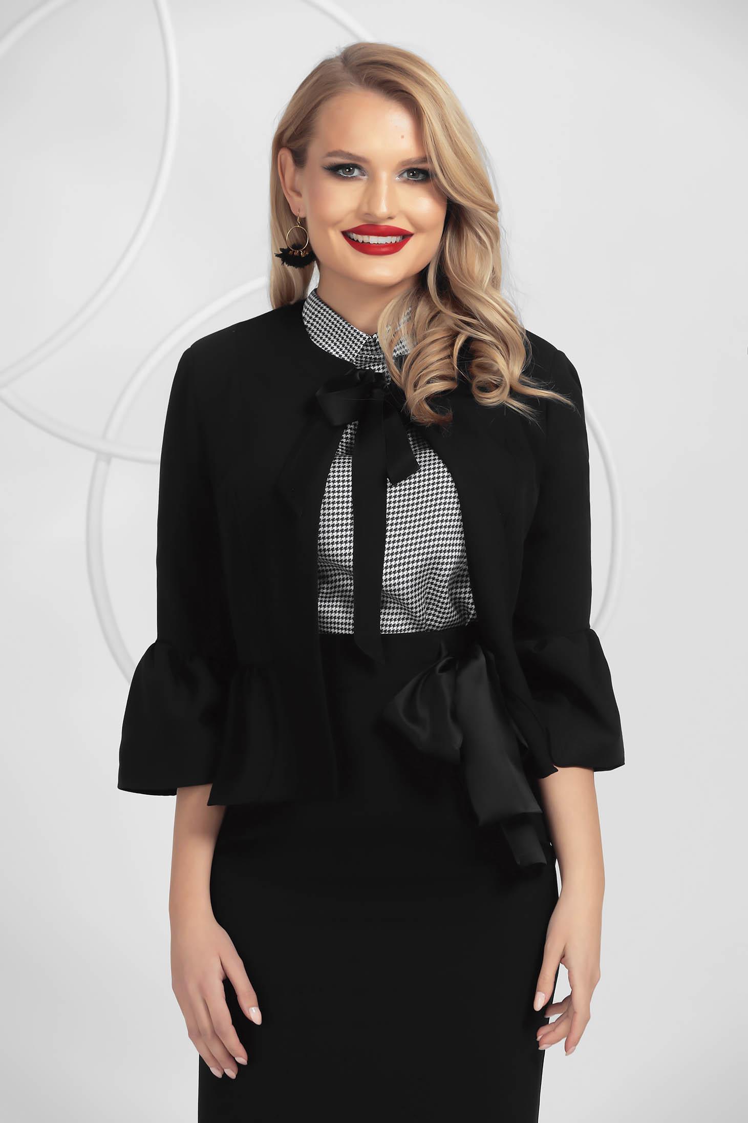 Black jacket tented with ruffle details satin ribbon fastening