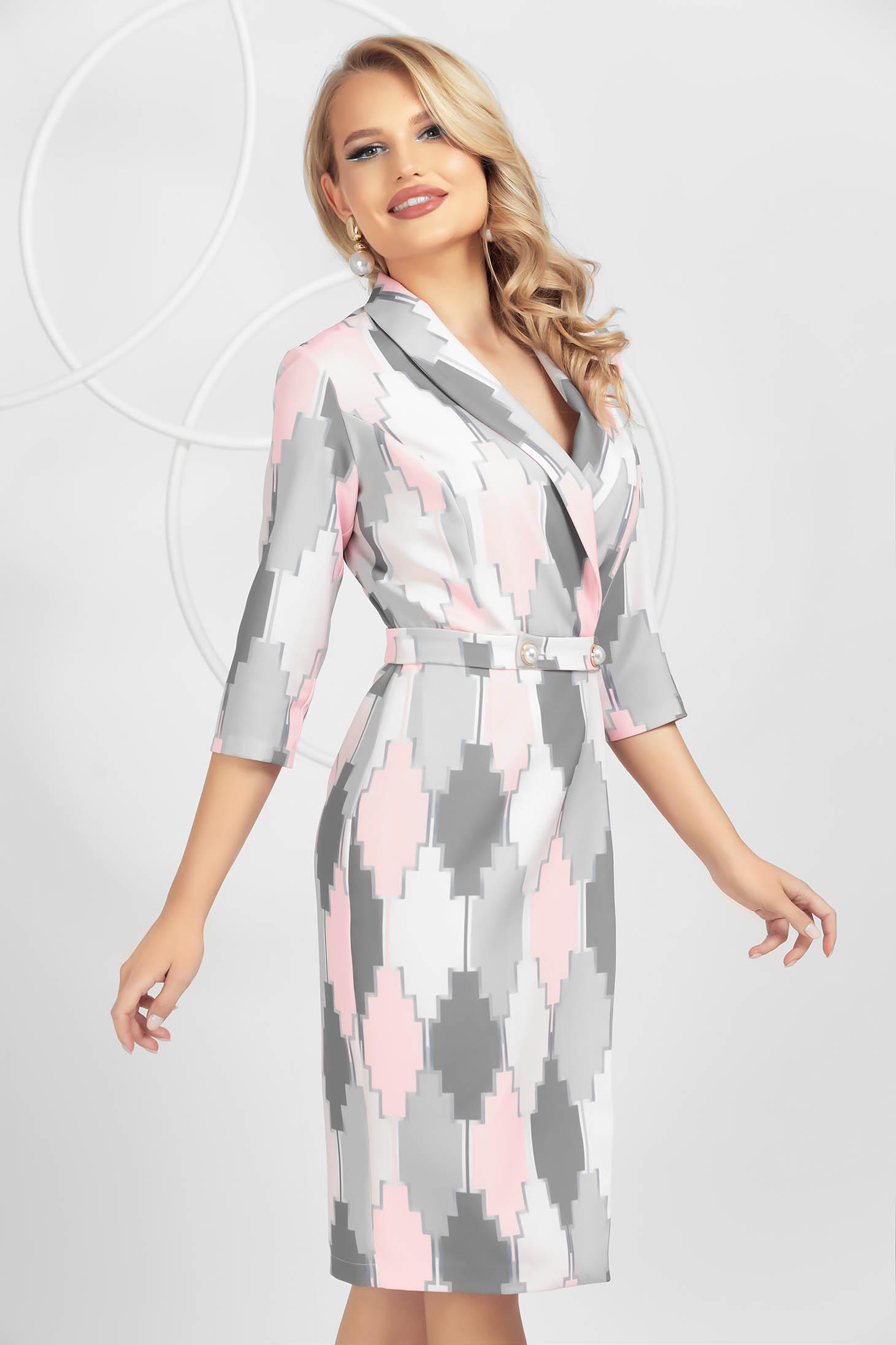 Grey dress with graphic details pencil midi detachable cord