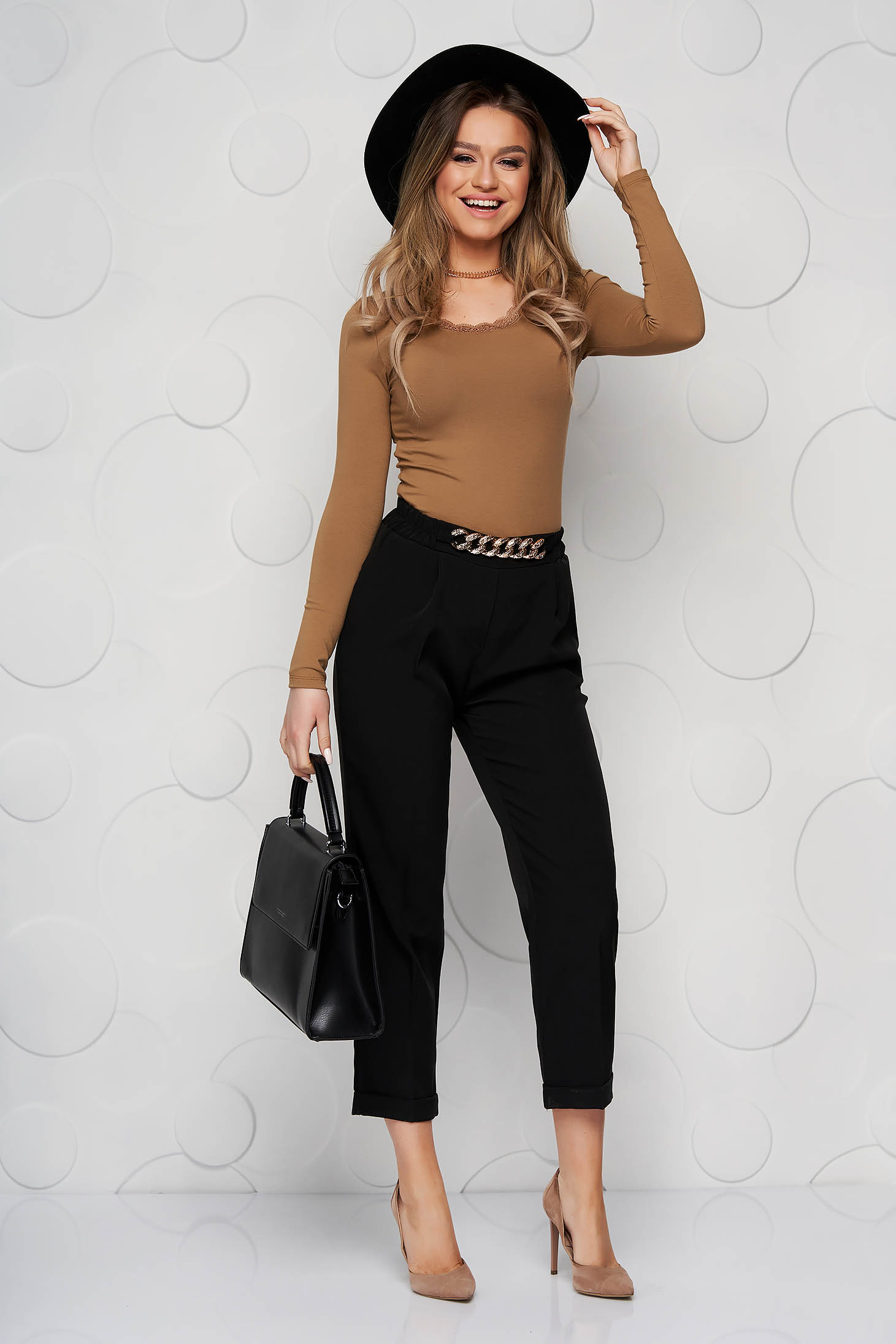 Black trousers metallic chain accessory loose fit nonelastic fabric