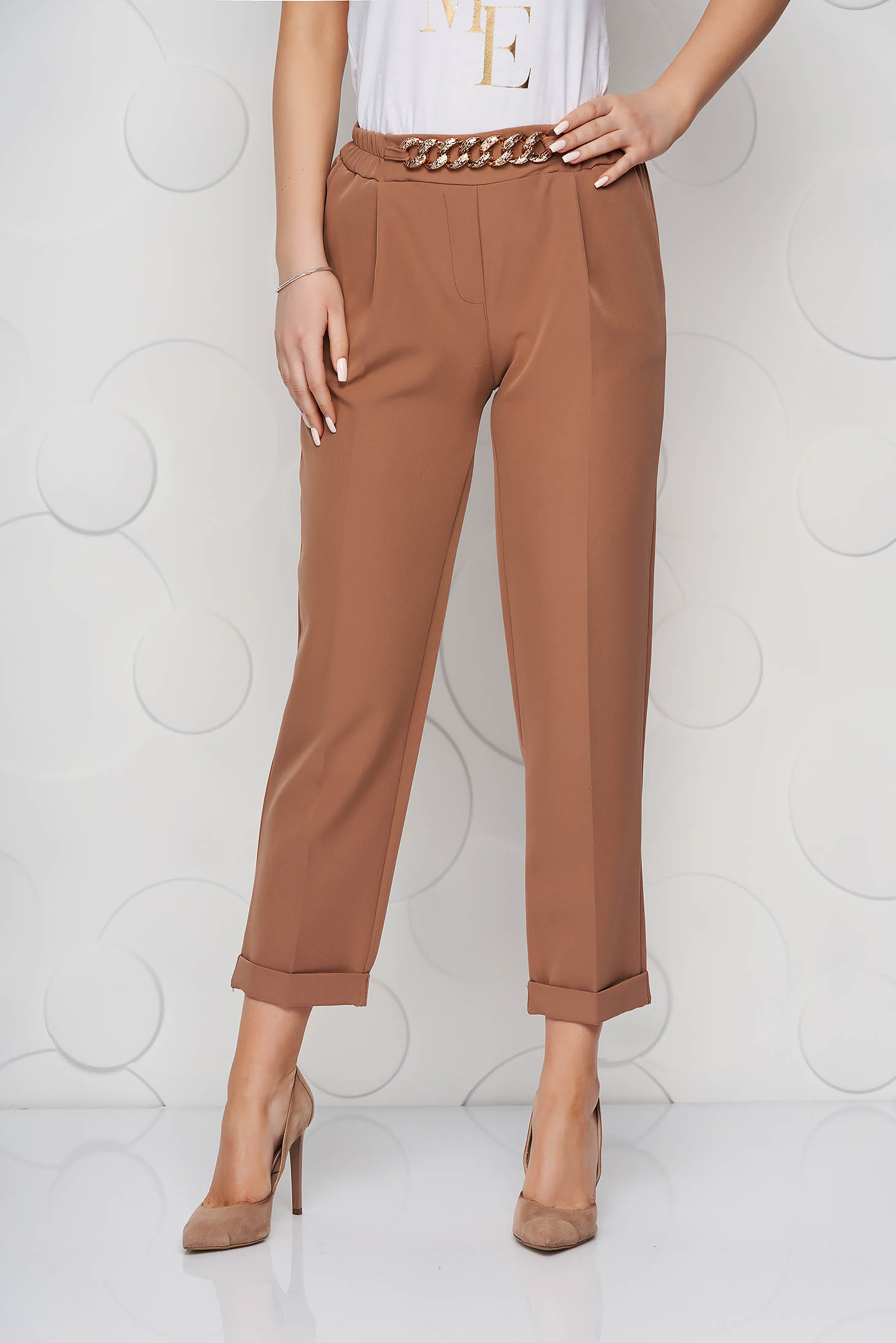 Cappuccino trousers metallic chain accessory loose fit nonelastic fabric
