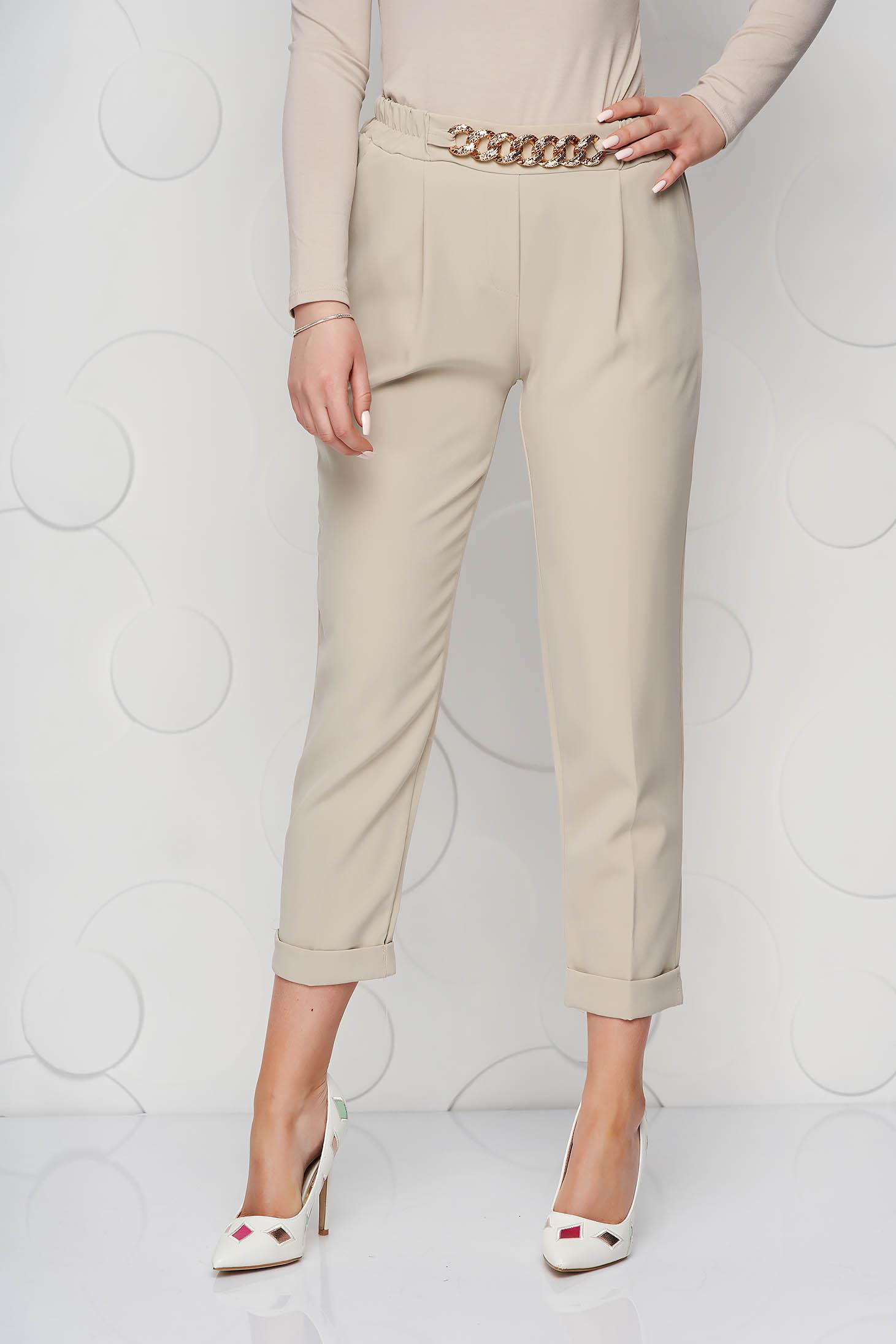 Cream trousers metallic chain accessory loose fit nonelastic fabric