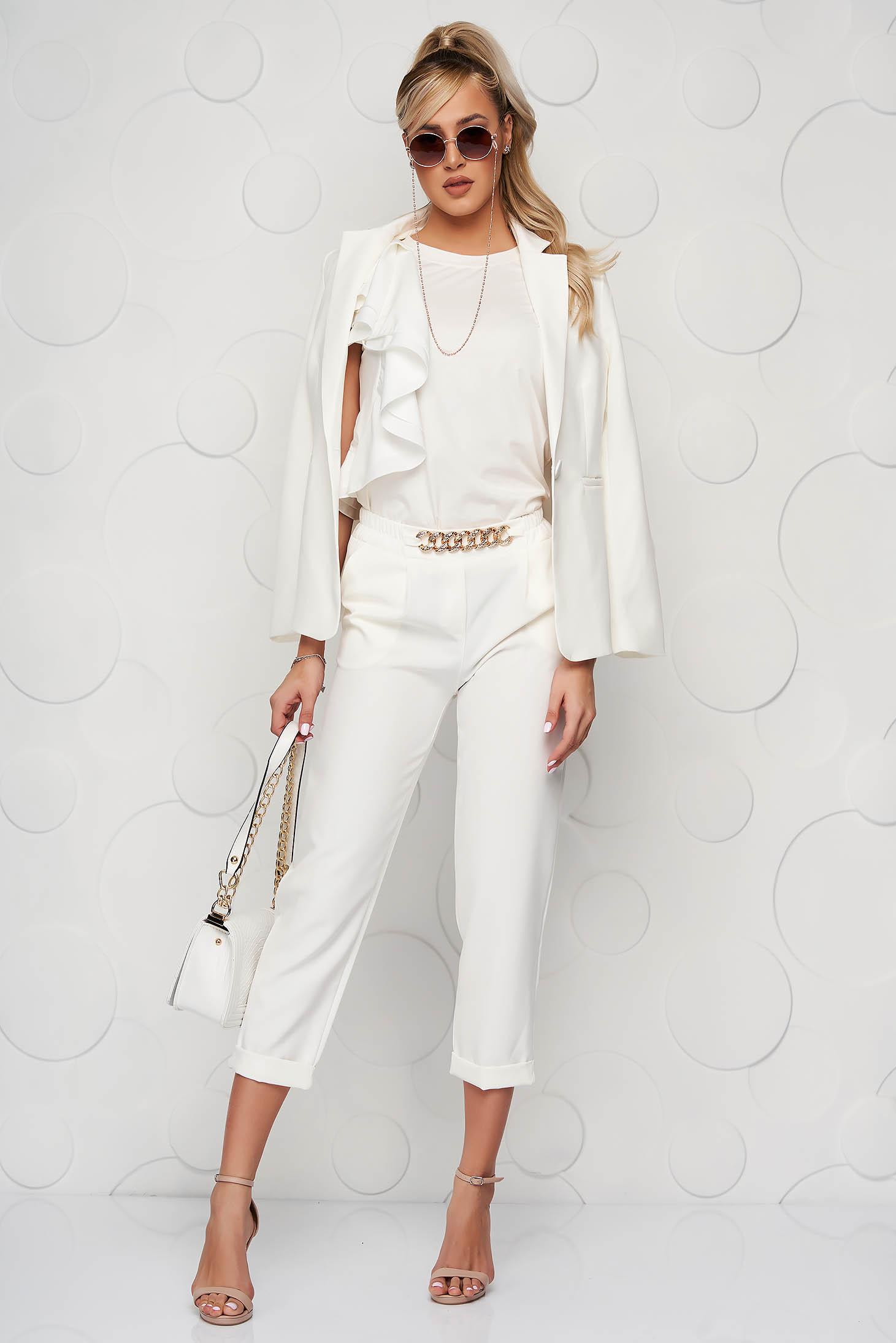 White trousers metallic chain accessory loose fit nonelastic fabric