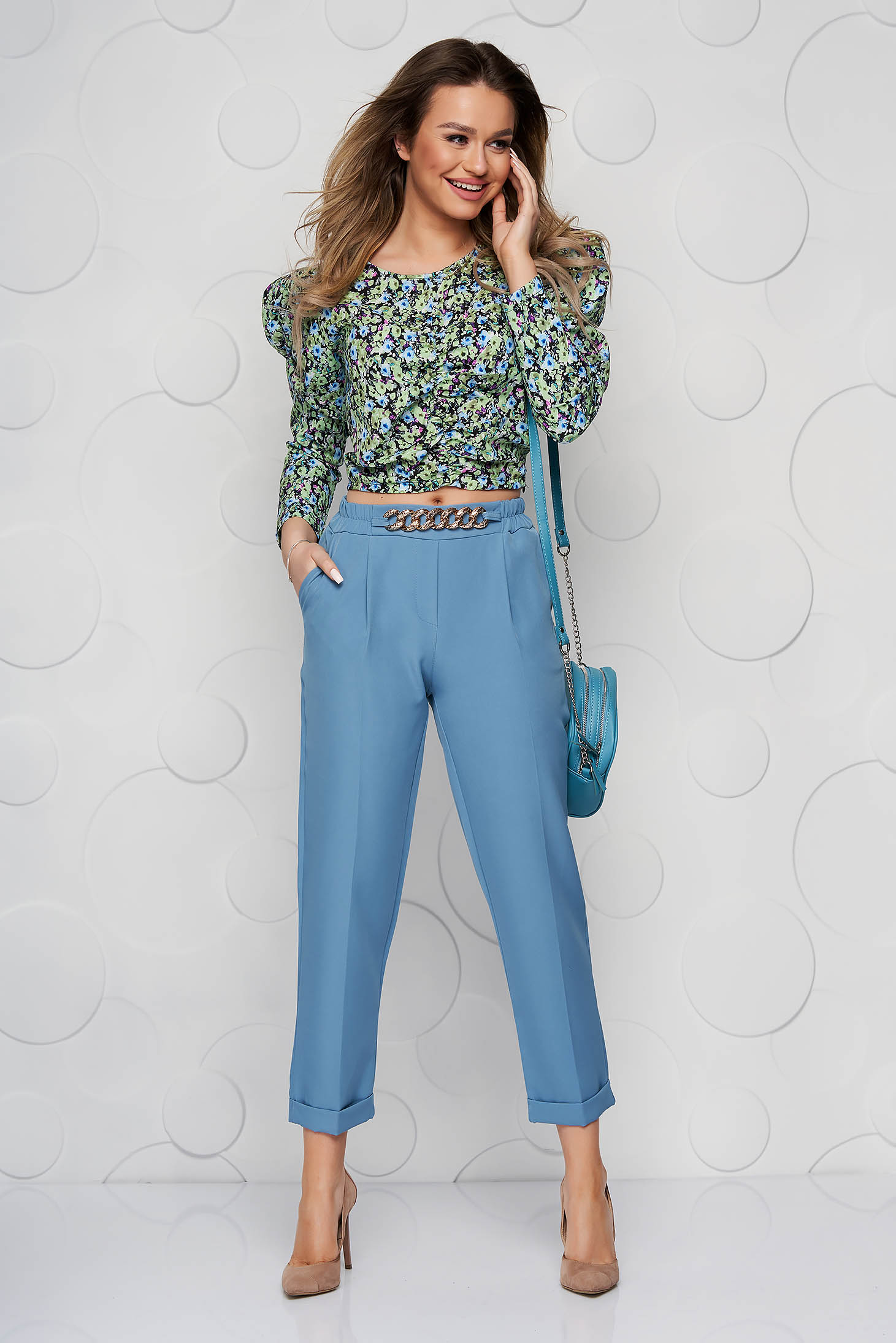 Blue trousers metallic chain accessory loose fit nonelastic fabric