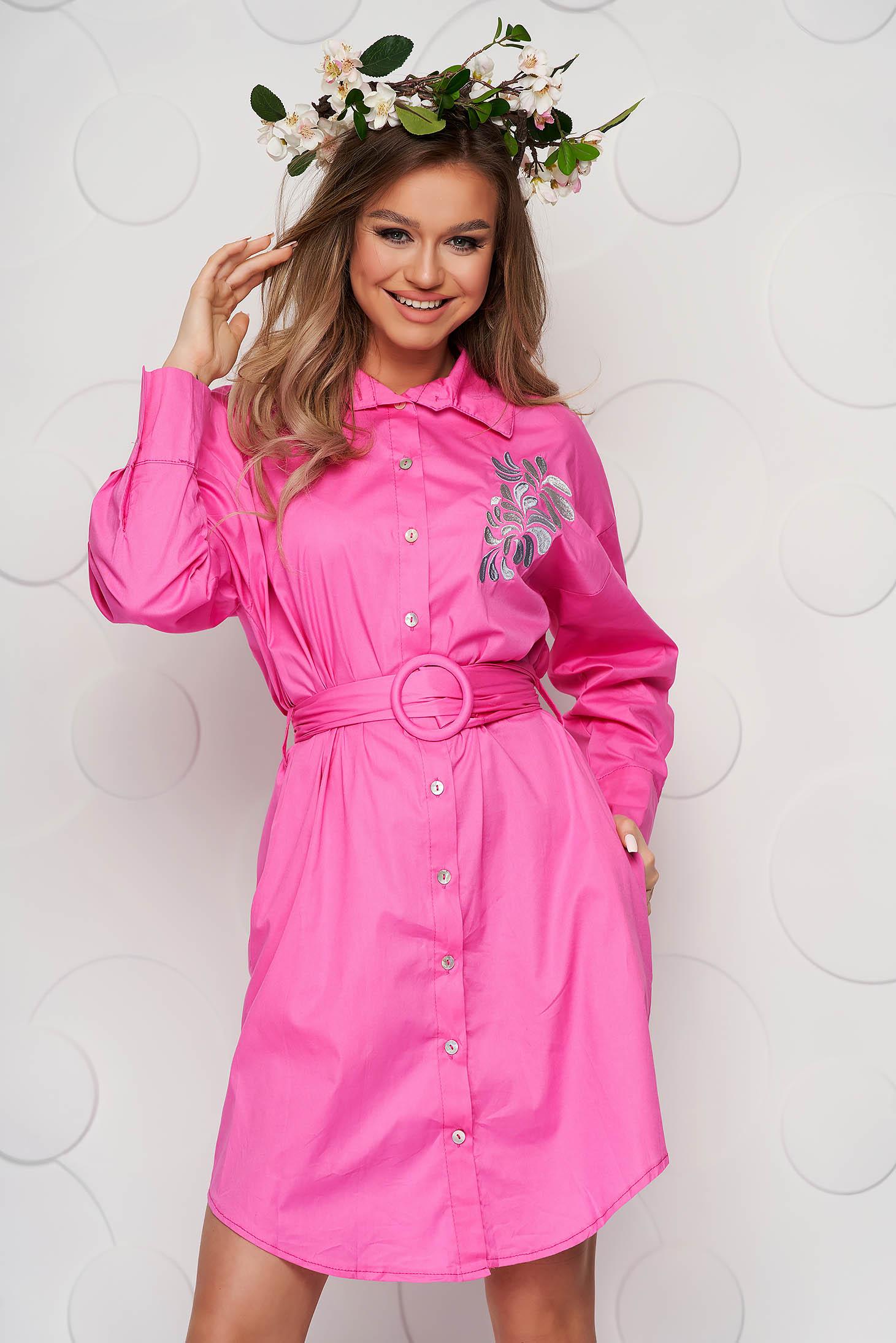 Rochie SunShine roz brodata din bumbac subtire cu accesoriu tip curea