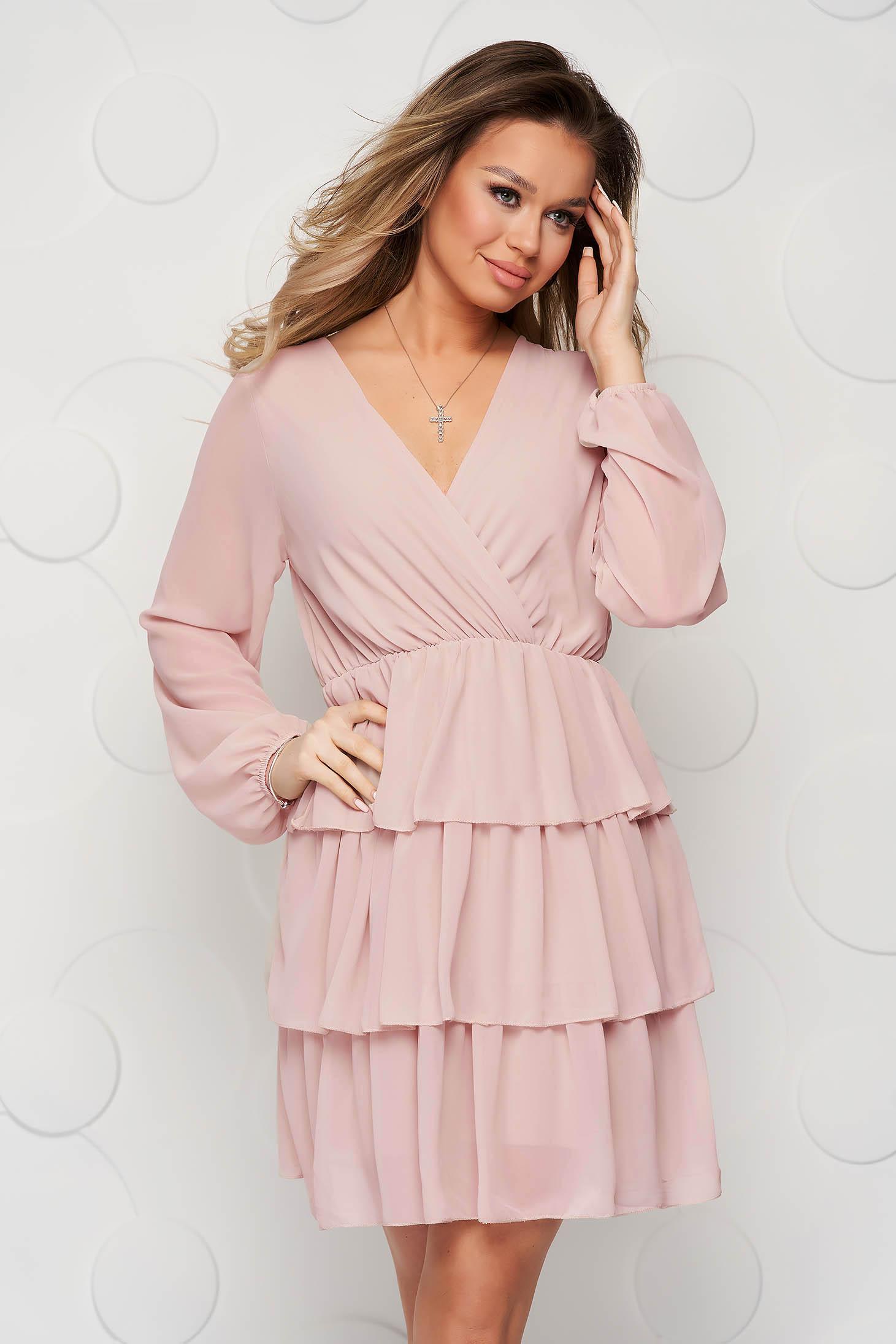 Púder rózsaszínű fodros ruha muszlinból harang alakú gumirozott derékrésszel