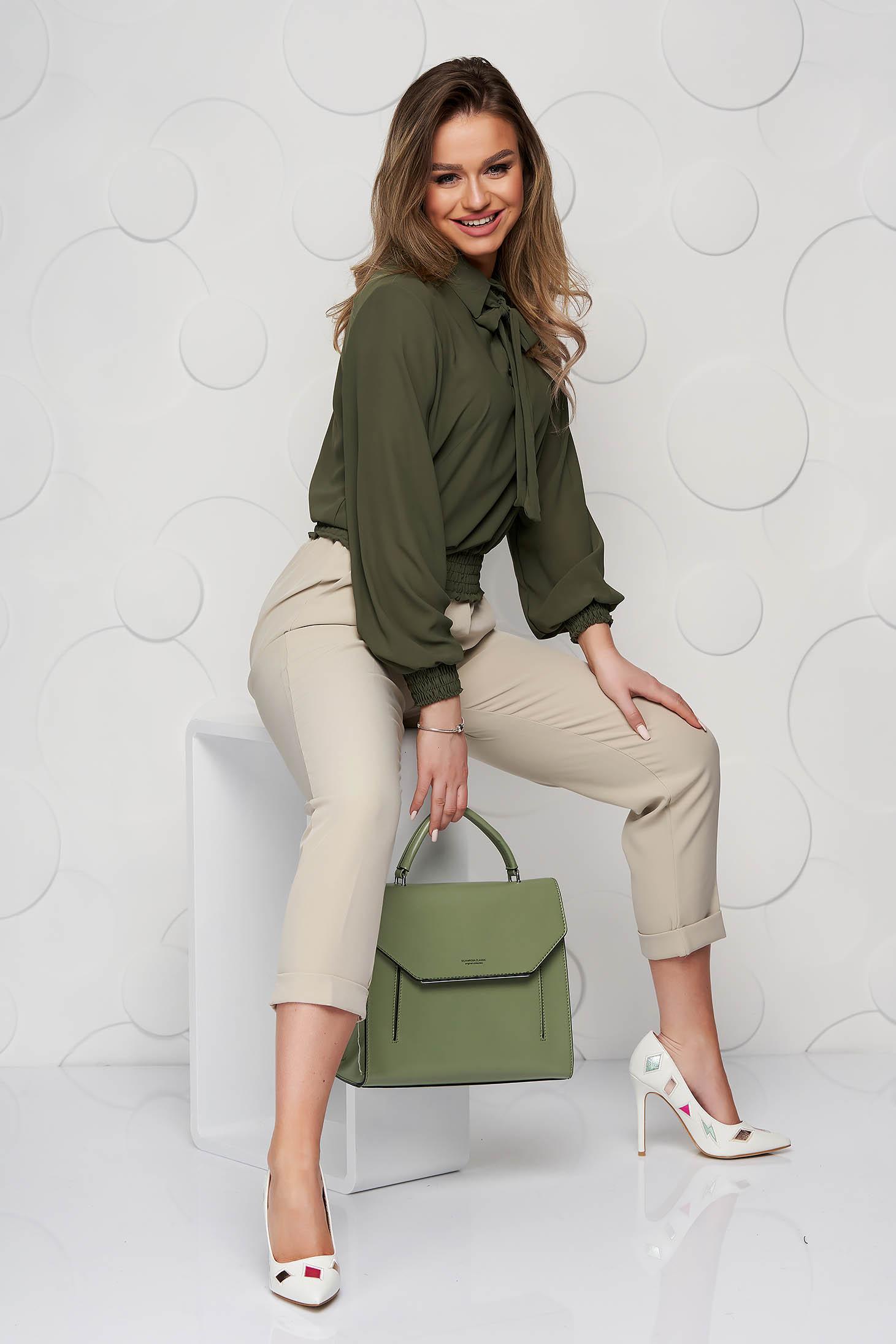 Bluza dama SunShine khaki din voal cu elastic in talie si guler tip esarfa