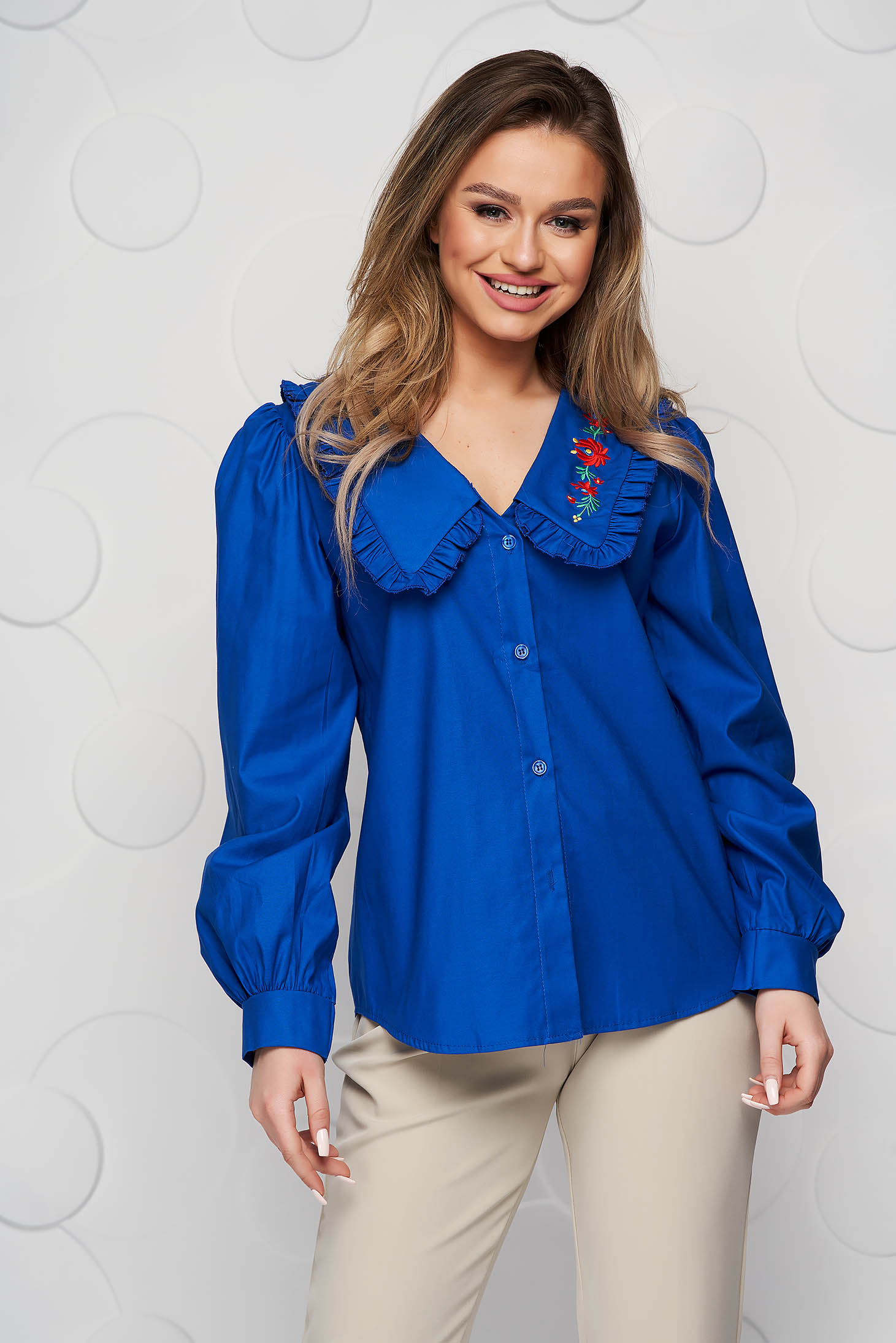 Blue women`s shirt cotton loose fit ruffled collar embroidered