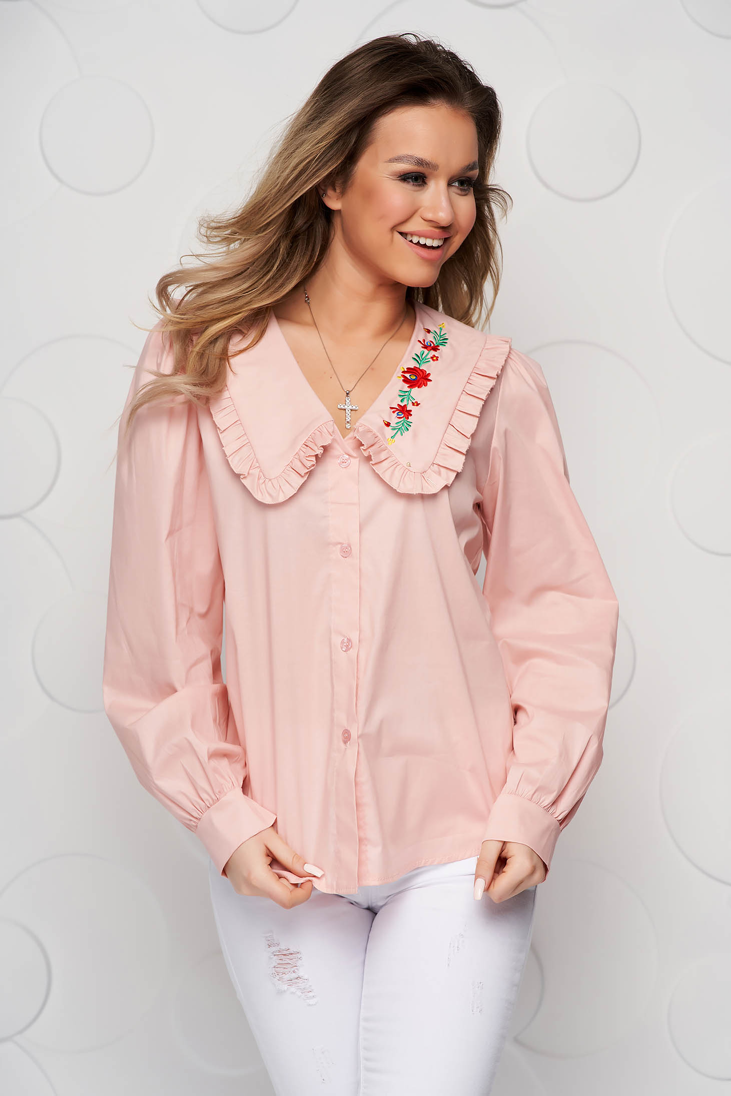 Peach women`s shirt cotton loose fit ruffled collar embroidered
