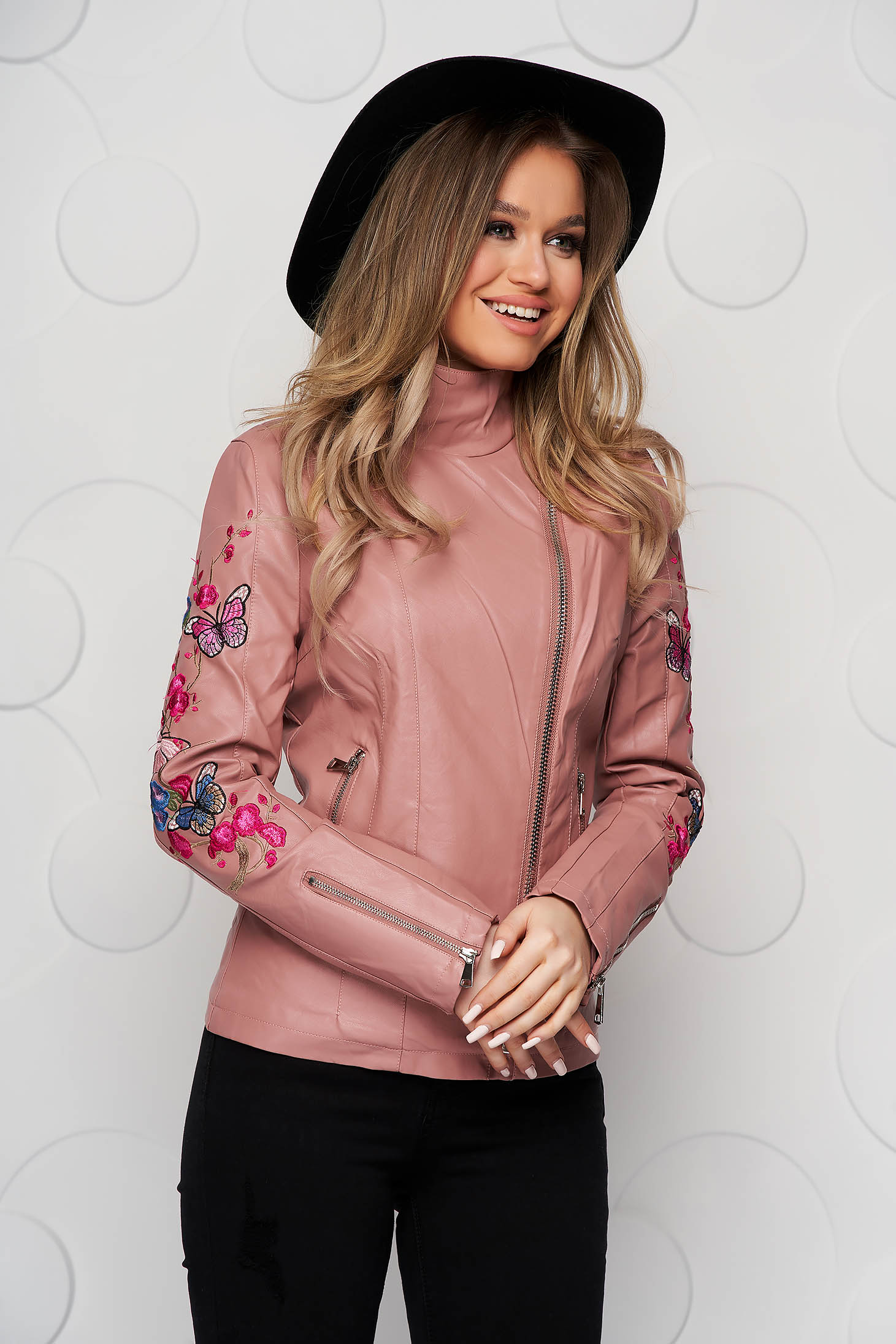 Pink jacket from ecological leather tented with embroidery details with turtle neck